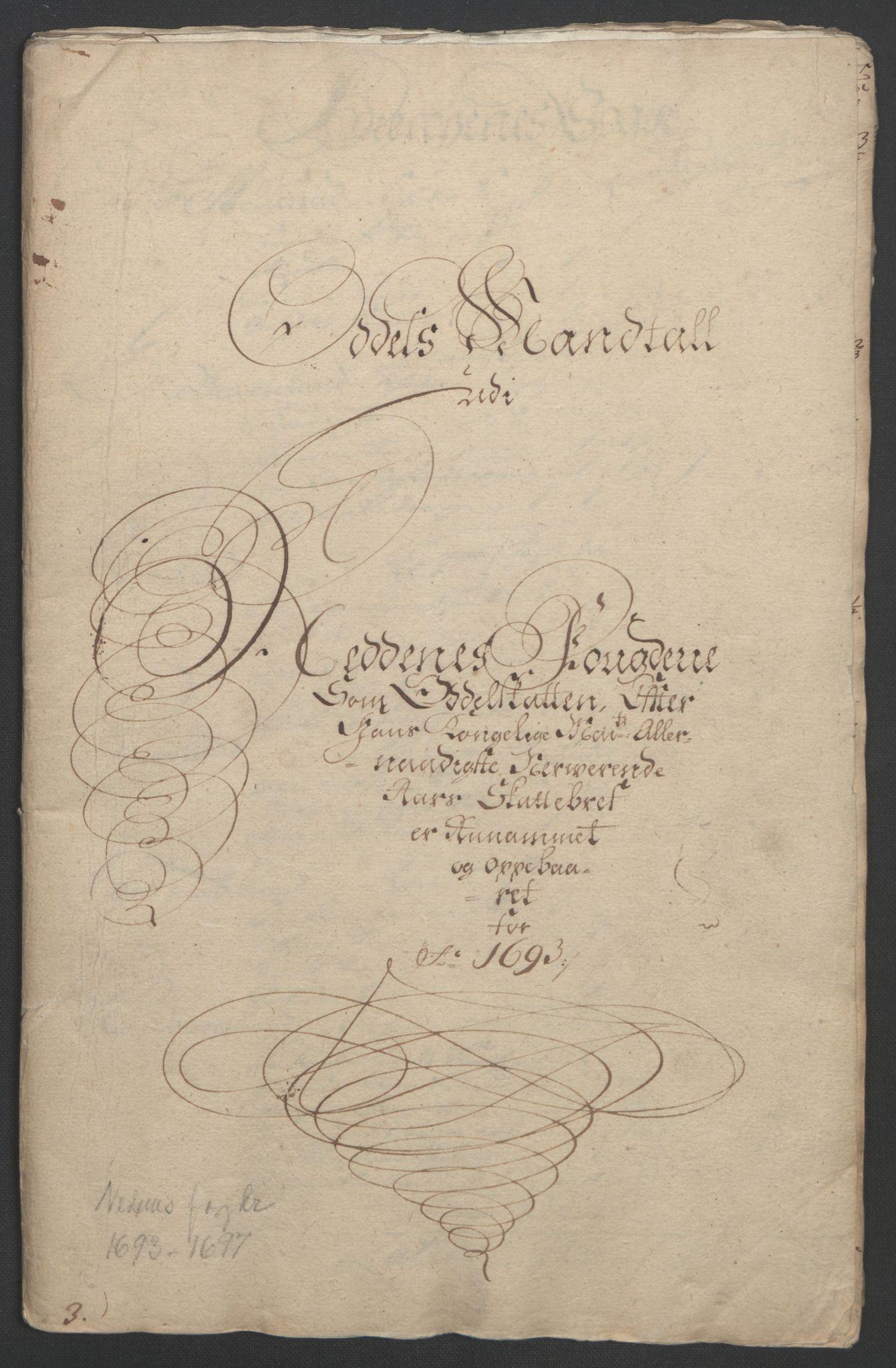 RA, Rentekammeret inntil 1814, Reviderte regnskaper, Fogderegnskap, R39/L2312: Fogderegnskap Nedenes, 1693-1695, s. 66
