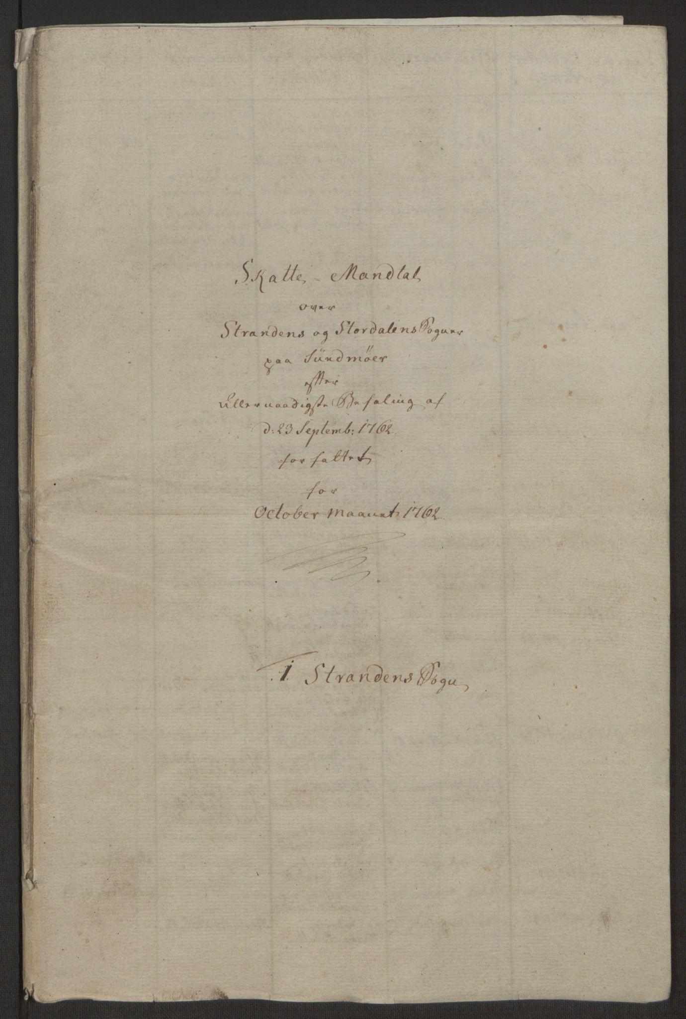 RA, Rentekammeret inntil 1814, Realistisk ordnet avdeling, Ol/L0019: [Gg 10]: Ekstraskatten, 23.09.1762. Sunnmøre, 1762-1763, s. 171