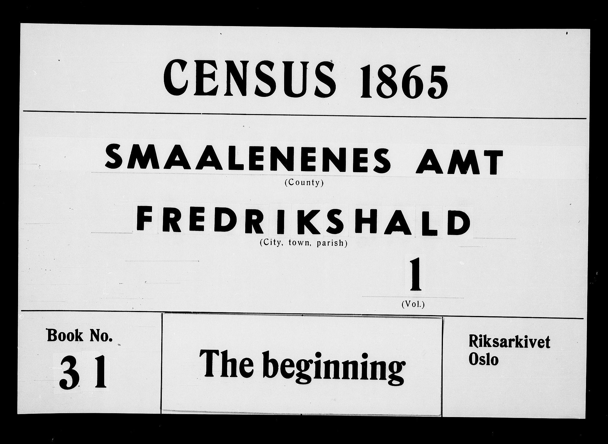 RA, Folketelling 1865 for 0101P Fredrikshald prestegjeld, 1865, s. 1