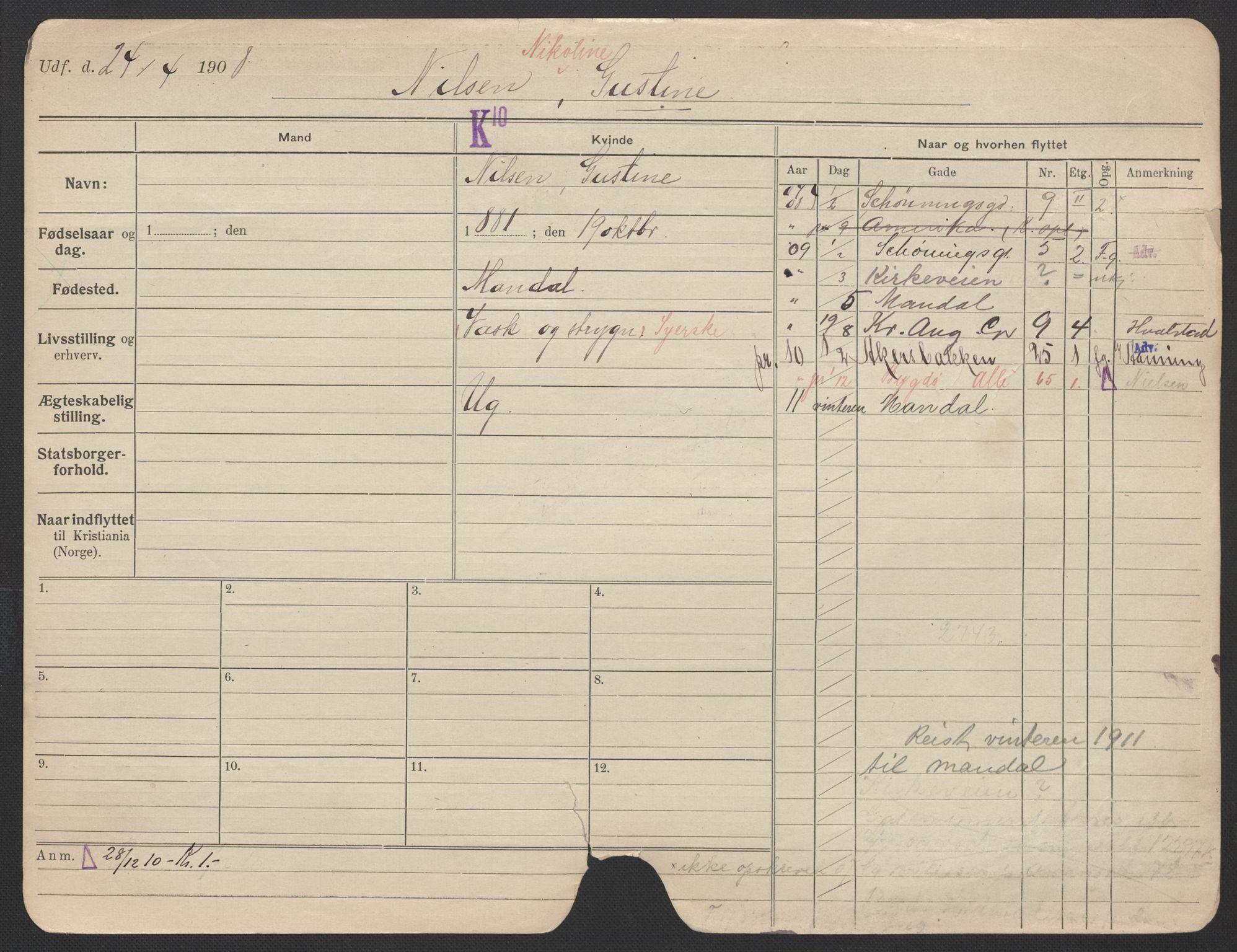 SAO, Oslo folkeregister, Registerkort, F/Fa/Fac/L0021: Kvinner, 1906-1914, s. 251a