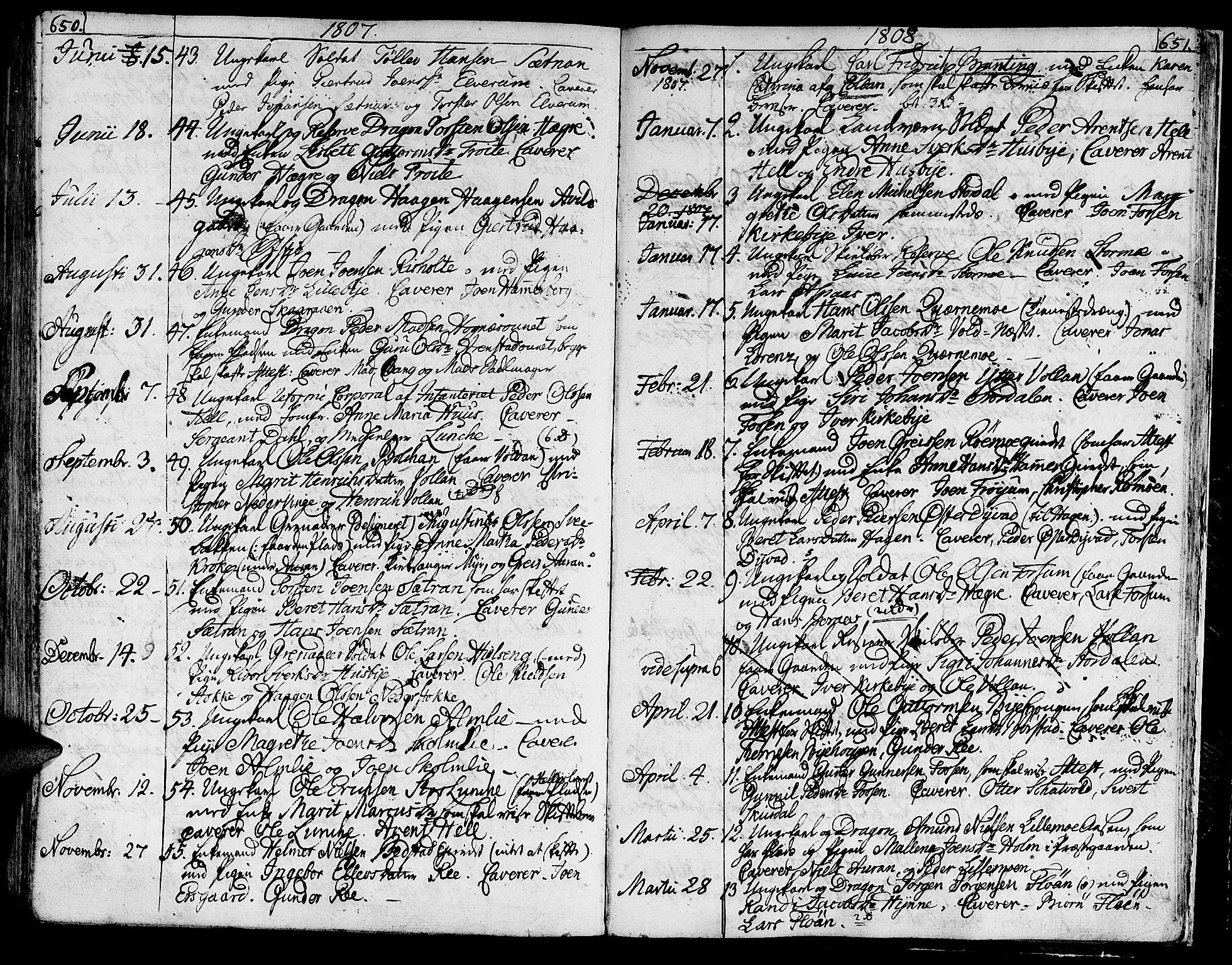 SAT, Ministerialprotokoller, klokkerbøker og fødselsregistre - Nord-Trøndelag, 709/L0060: Ministerialbok nr. 709A07, 1797-1815, s. 650-651