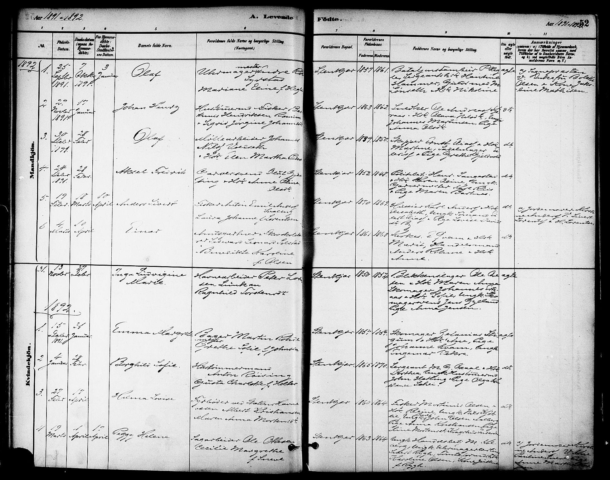 SAT, Ministerialprotokoller, klokkerbøker og fødselsregistre - Nord-Trøndelag, 739/L0371: Ministerialbok nr. 739A03, 1881-1895, s. 52