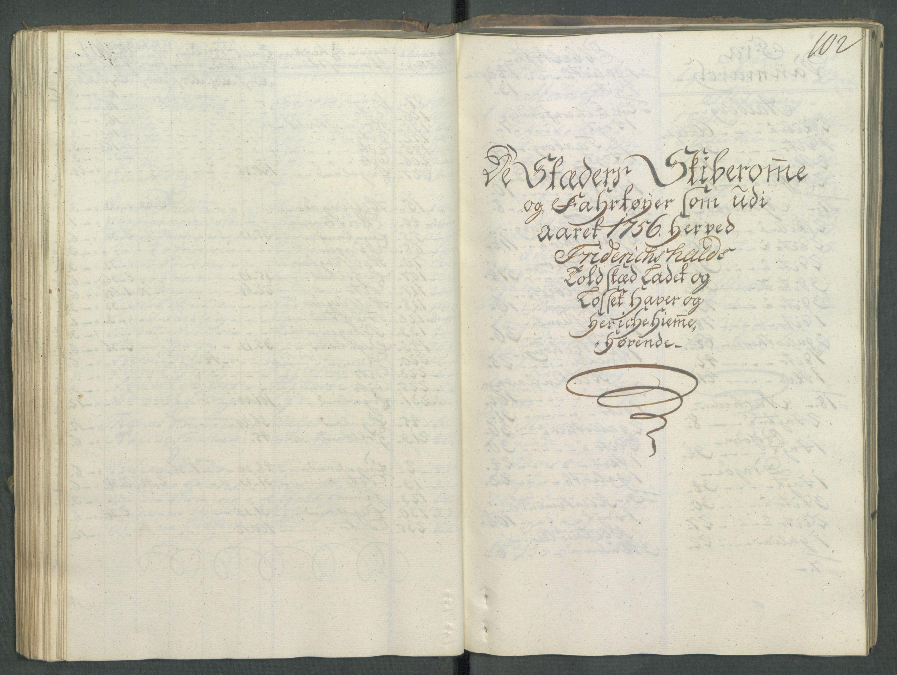 RA, Generaltollkammeret, tollregnskaper, R01/L0029: Tollregnskaper Fredrikshald, 1756, s. 101b-102a