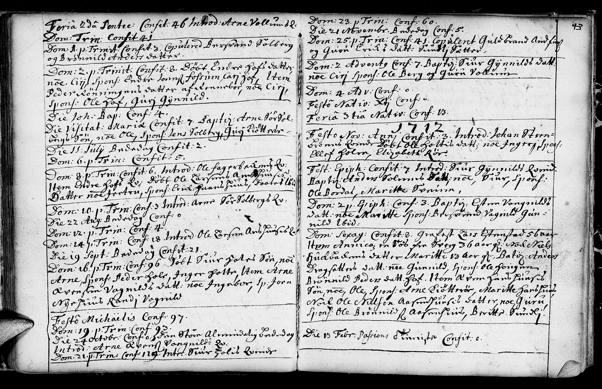 SAT, Ministerialprotokoller, klokkerbøker og fødselsregistre - Sør-Trøndelag, 689/L1036: Ministerialbok nr. 689A01, 1696-1746, s. 43