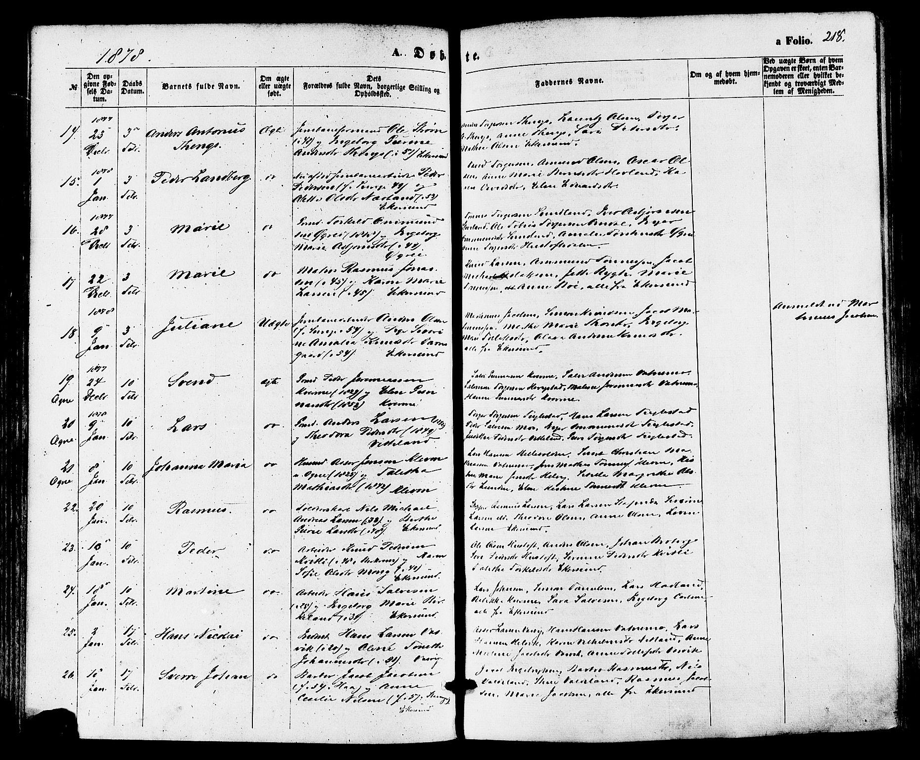 SAST, Egersund sokneprestkontor, S08/L0014: Ministerialbok nr. A 13, 1866-1878, s. 218