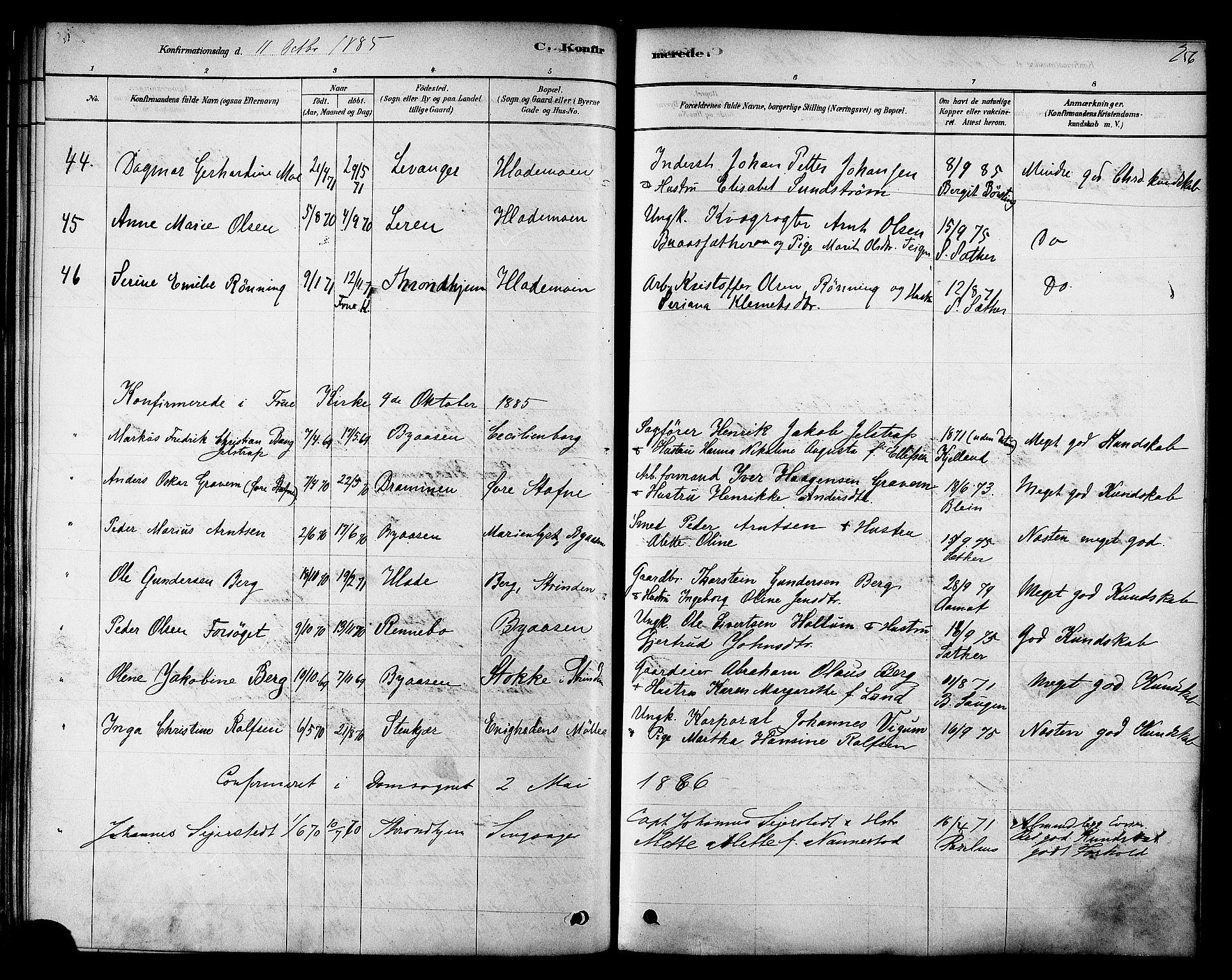 SAT, Ministerialprotokoller, klokkerbøker og fødselsregistre - Sør-Trøndelag, 606/L0294: Ministerialbok nr. 606A09, 1878-1886, s. 256