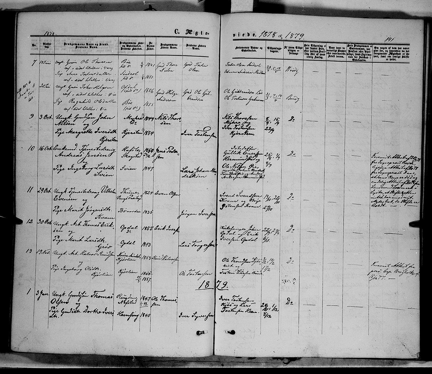 SAH, Vang prestekontor, Valdres, Ministerialbok nr. 7, 1865-1881, s. 141