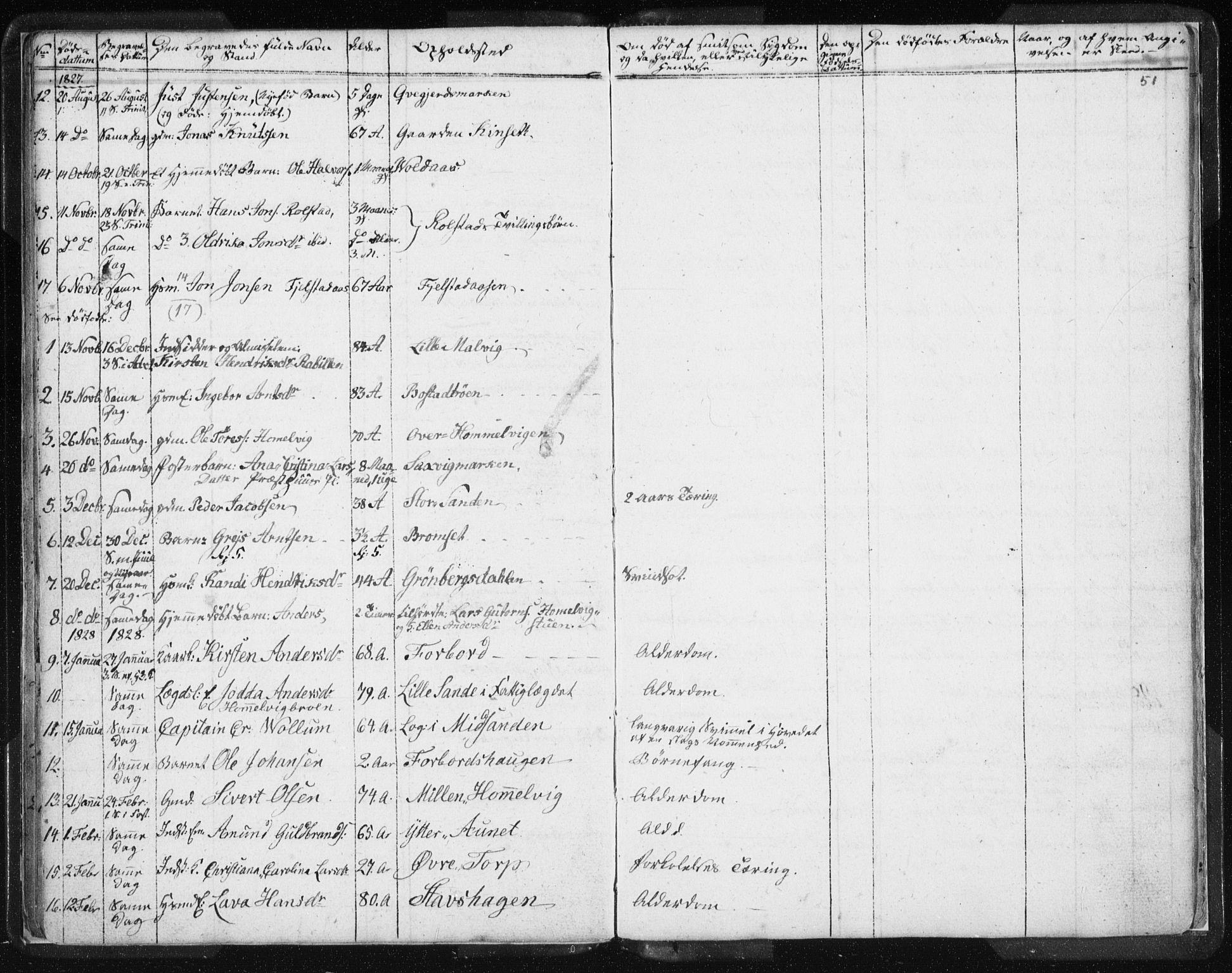 SAT, Ministerialprotokoller, klokkerbøker og fødselsregistre - Sør-Trøndelag, 616/L0404: Ministerialbok nr. 616A01, 1823-1831, s. 51