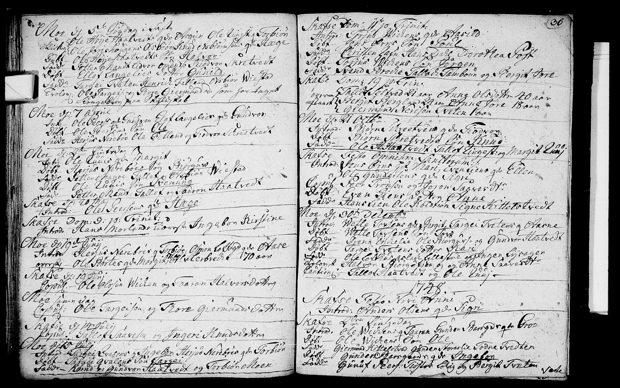 SAKO, Mo kirkebøker, F/Fa/L0001: Ministerialbok nr. I 1, 1724-1748, s. 36