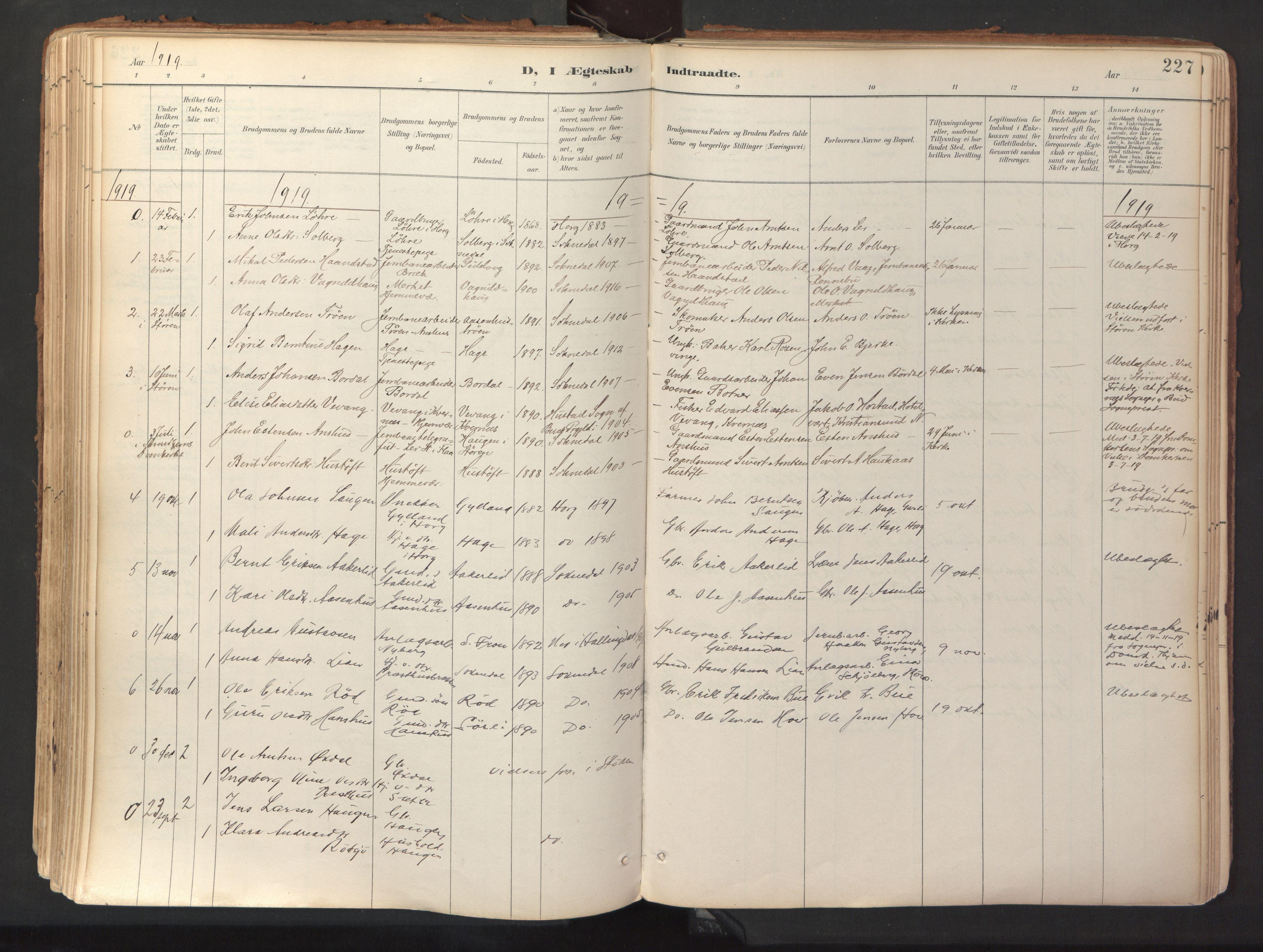 SAT, Ministerialprotokoller, klokkerbøker og fødselsregistre - Sør-Trøndelag, 689/L1041: Ministerialbok nr. 689A06, 1891-1923, s. 227