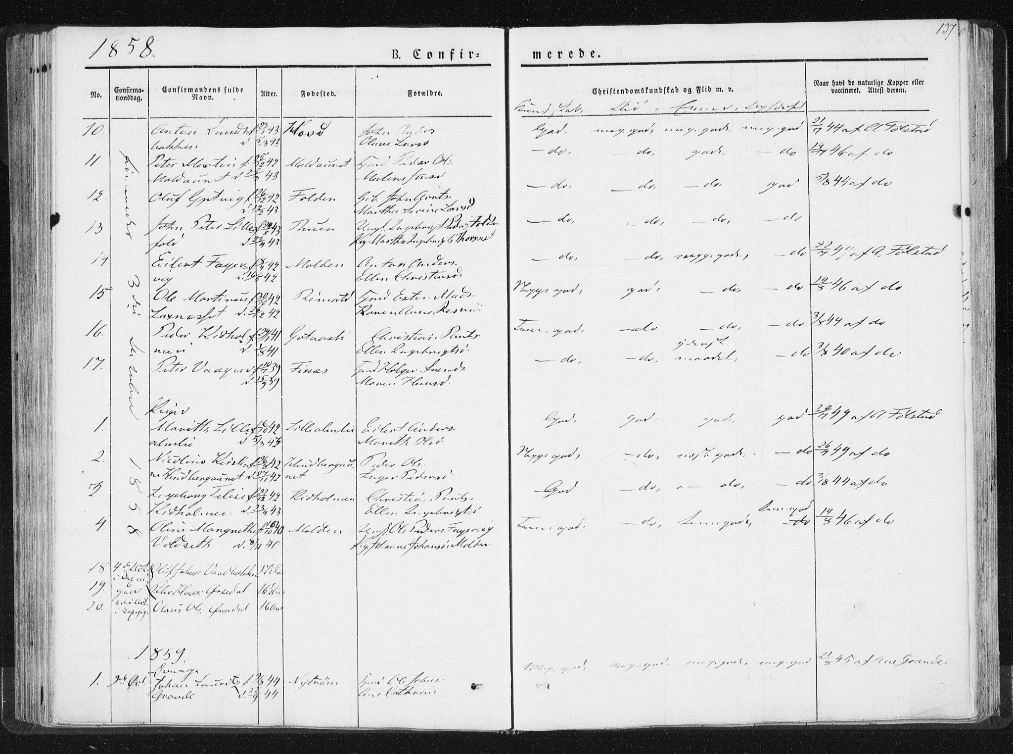 SAT, Ministerialprotokoller, klokkerbøker og fødselsregistre - Nord-Trøndelag, 744/L0418: Ministerialbok nr. 744A02, 1843-1866, s. 137
