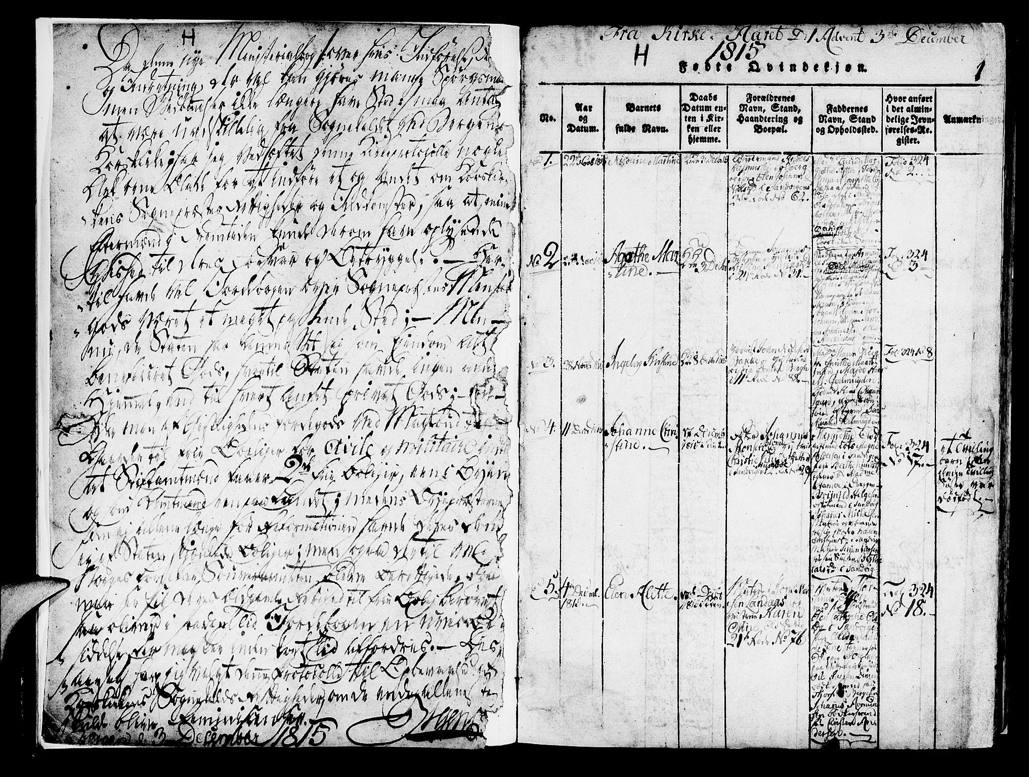 SAB, Korskirken Sokneprestembete, H/Haa/L0013: Ministerialbok nr. A 13, 1815-1822, s. 1
