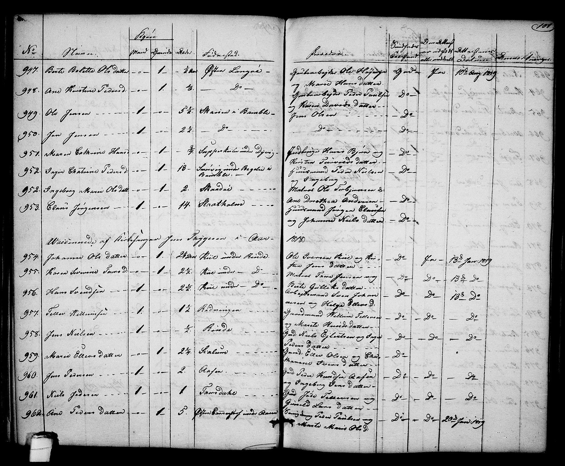 SAKO, Kragerø kirkebøker, F/Fa/L0003: Ministerialbok nr. 3, 1802-1813, s. 101