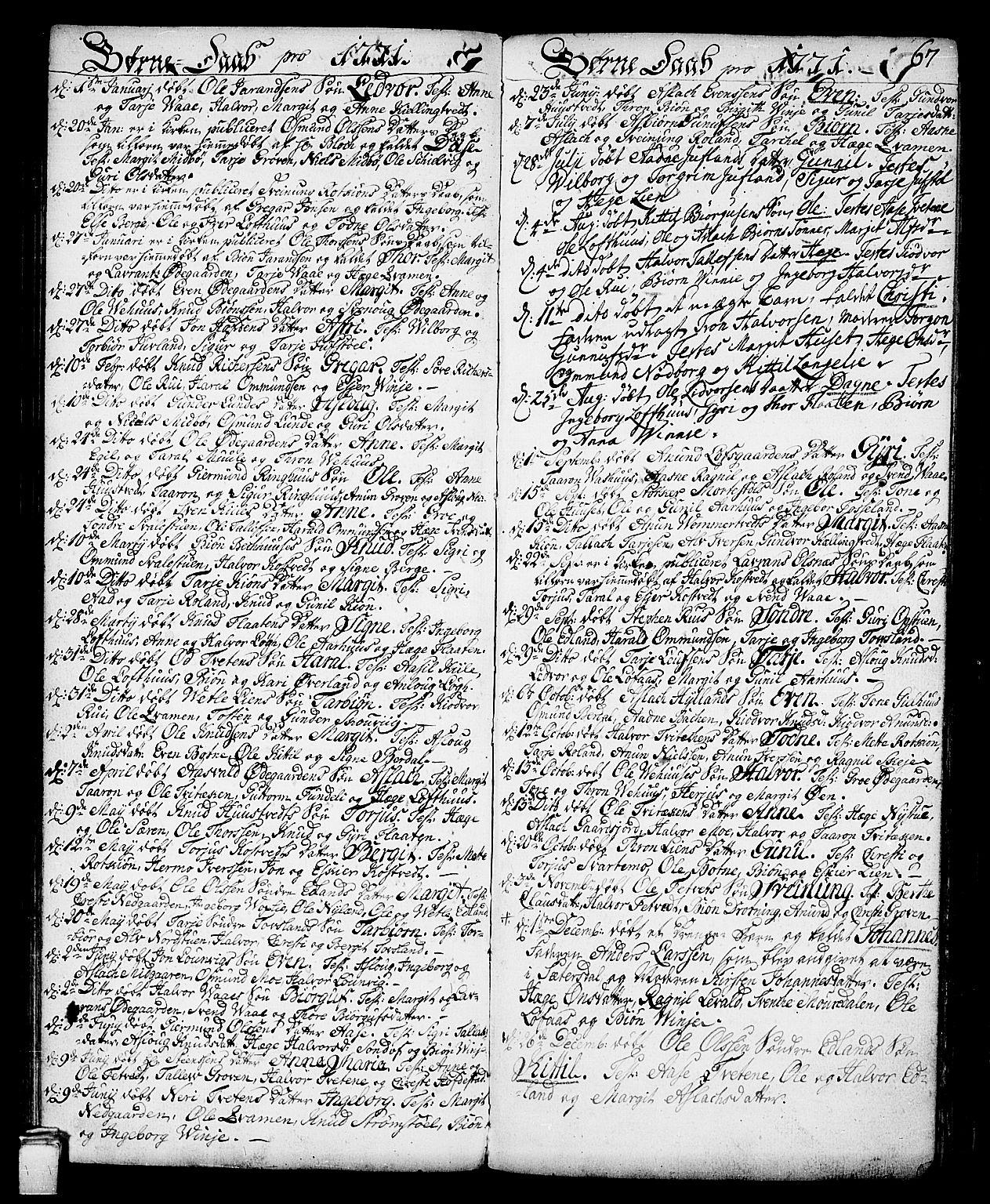 SAKO, Vinje kirkebøker, F/Fa/L0002: Ministerialbok nr. I 2, 1767-1814, s. 67