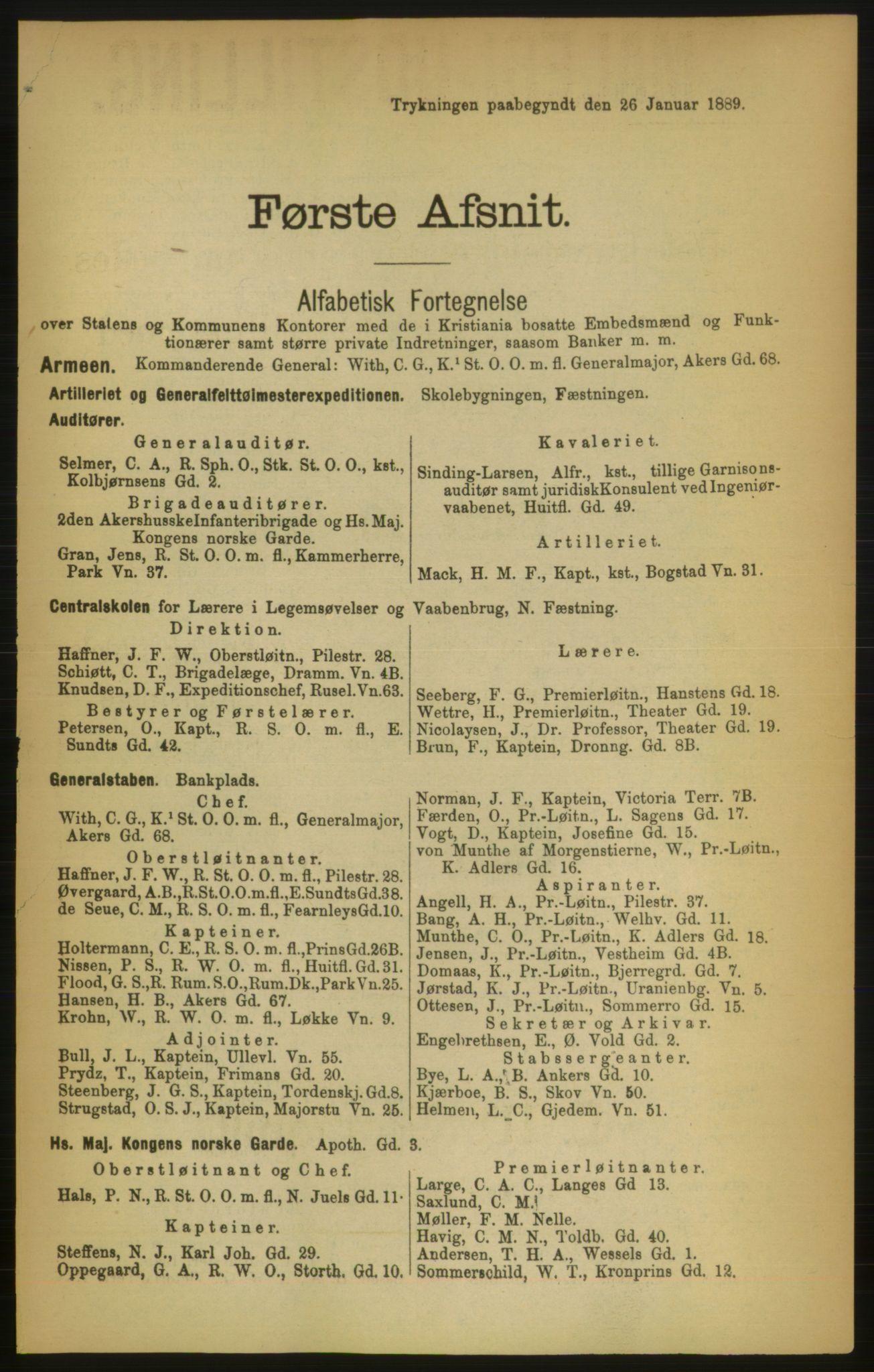 RA, Kristiania adressebok (publikasjon)*, 1889, s. 19