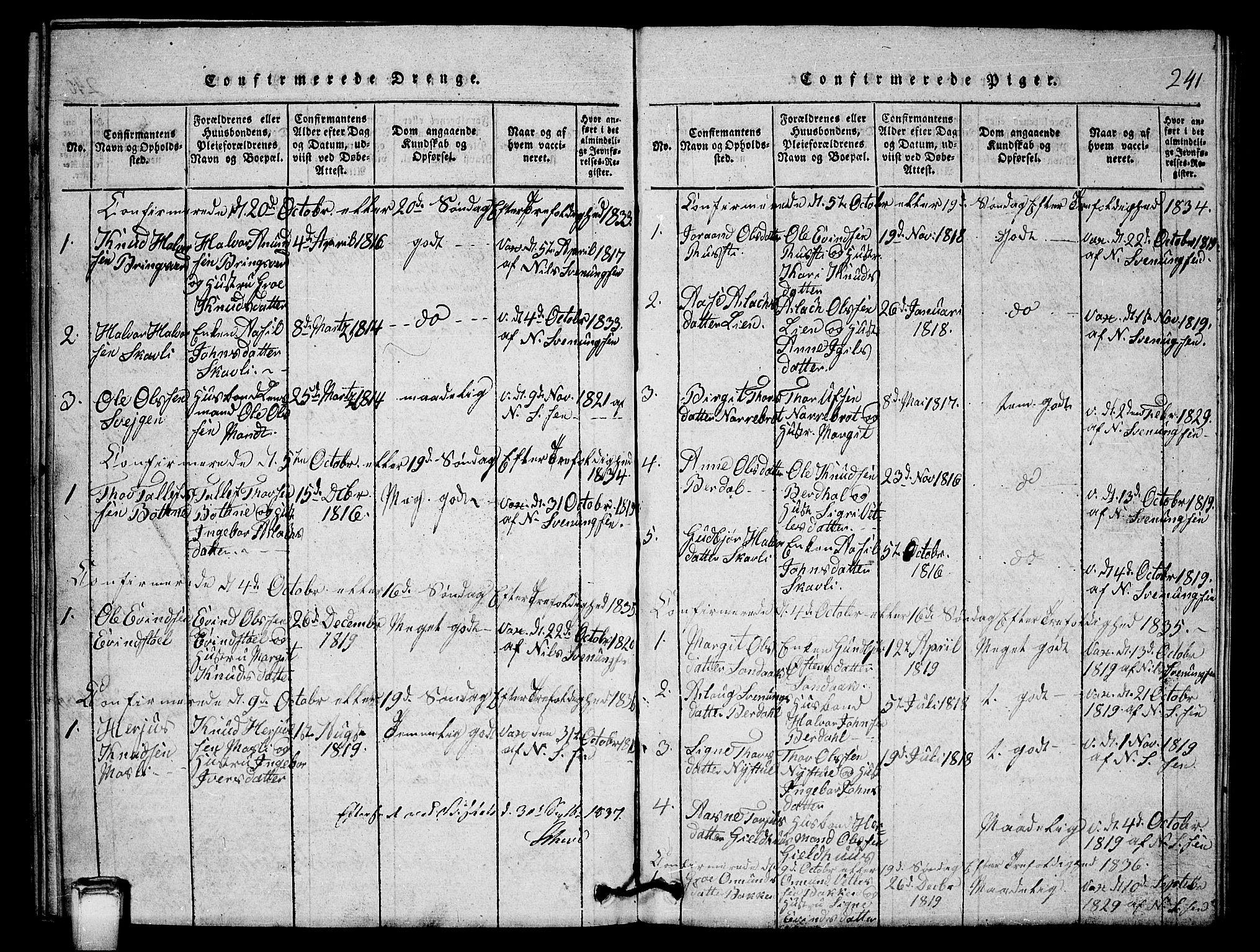 SAKO, Vinje kirkebøker, G/Gb/L0001: Klokkerbok nr. II 1, 1814-1843, s. 241