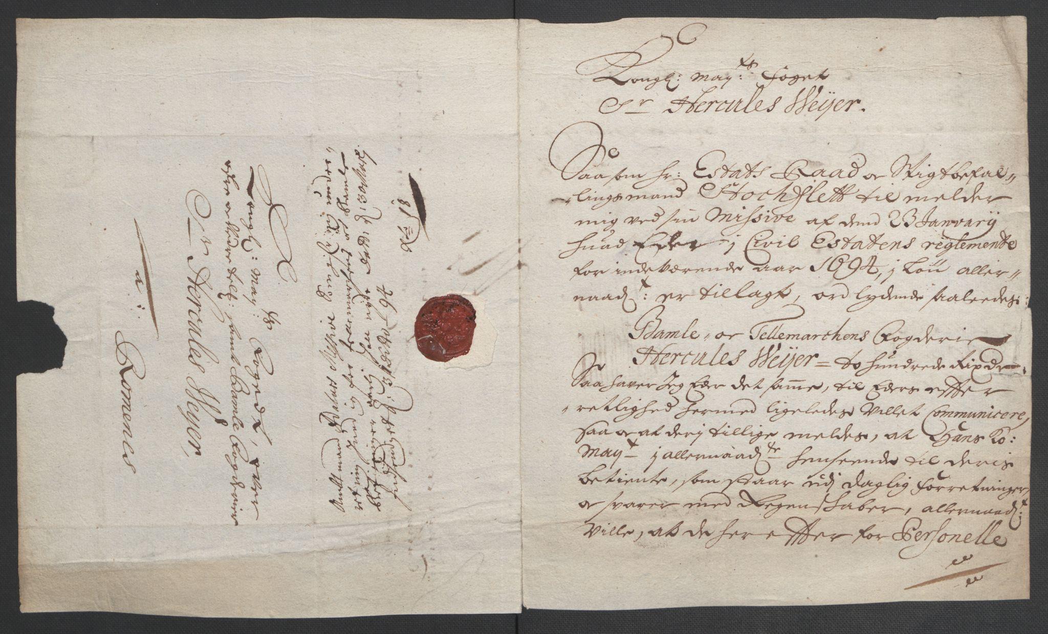 RA, Rentekammeret inntil 1814, Reviderte regnskaper, Fogderegnskap, R36/L2092: Fogderegnskap Øvre og Nedre Telemark og Bamble, 1694, s. 169