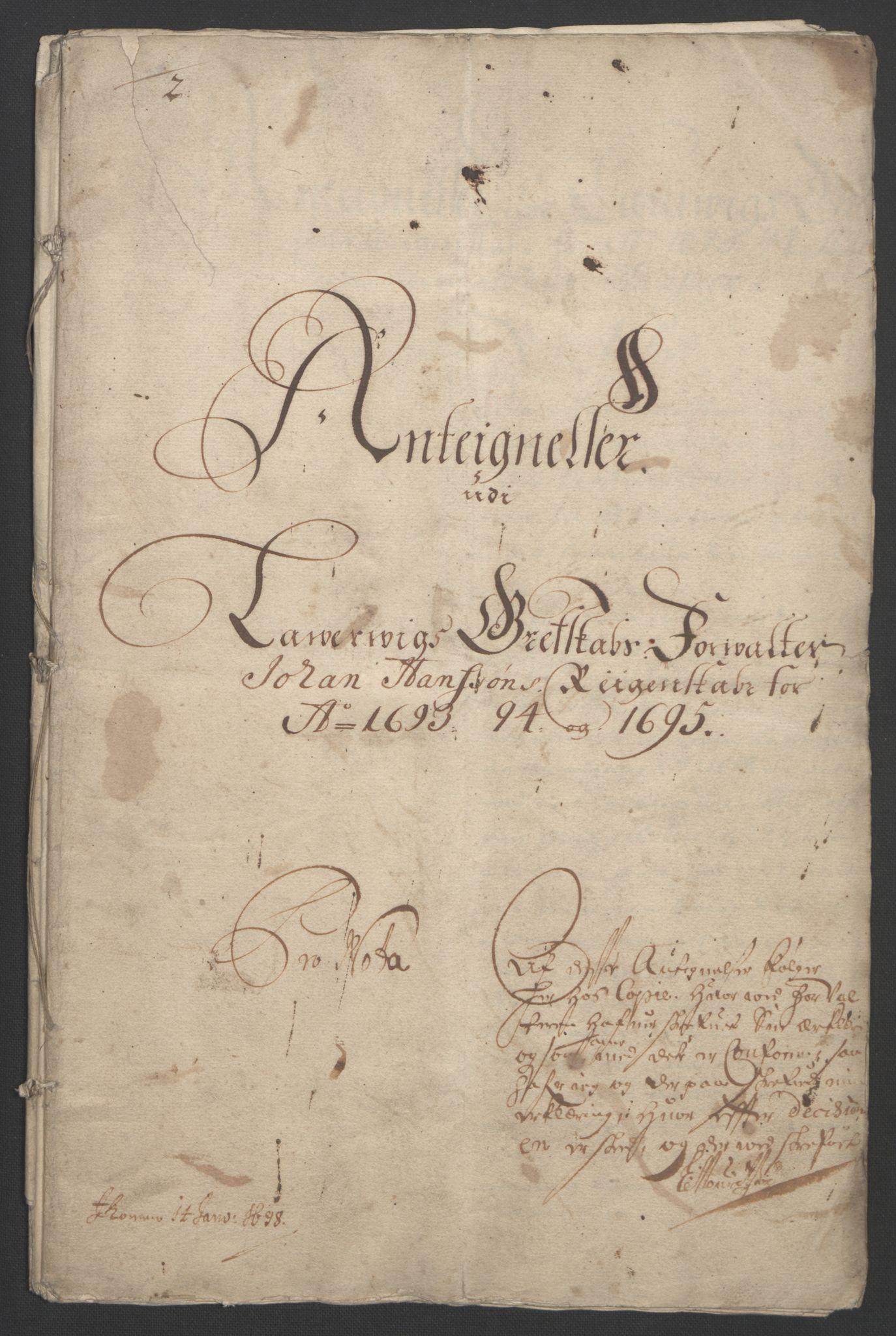 RA, Rentekammeret inntil 1814, Reviderte regnskaper, Fogderegnskap, R33/L1974: Fogderegnskap Larvik grevskap, 1693-1695, s. 301