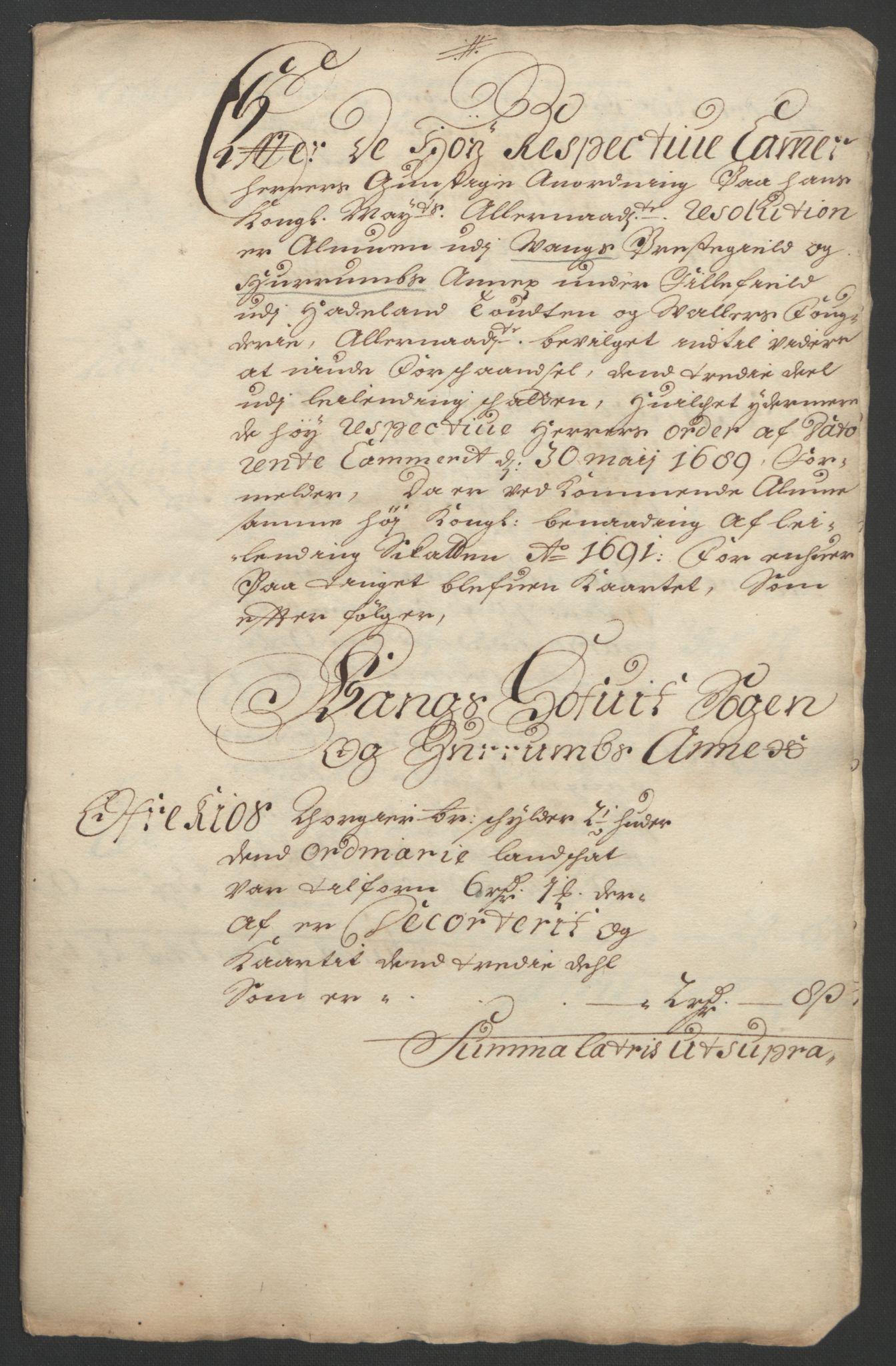 RA, Rentekammeret inntil 1814, Reviderte regnskaper, Fogderegnskap, R18/L1290: Fogderegnskap Hadeland, Toten og Valdres, 1691, s. 260
