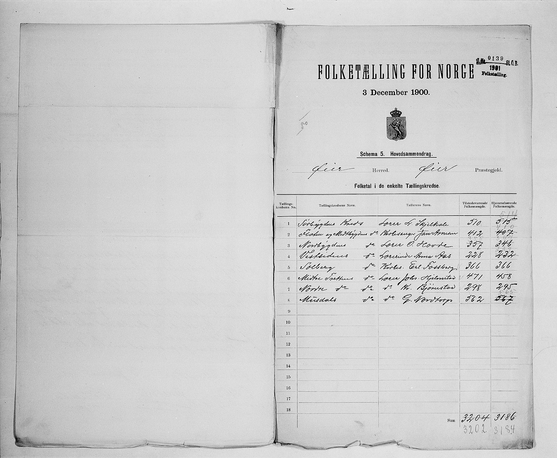SAH, Folketelling 1900 for 0521 Øyer herred, 1900, s. 2
