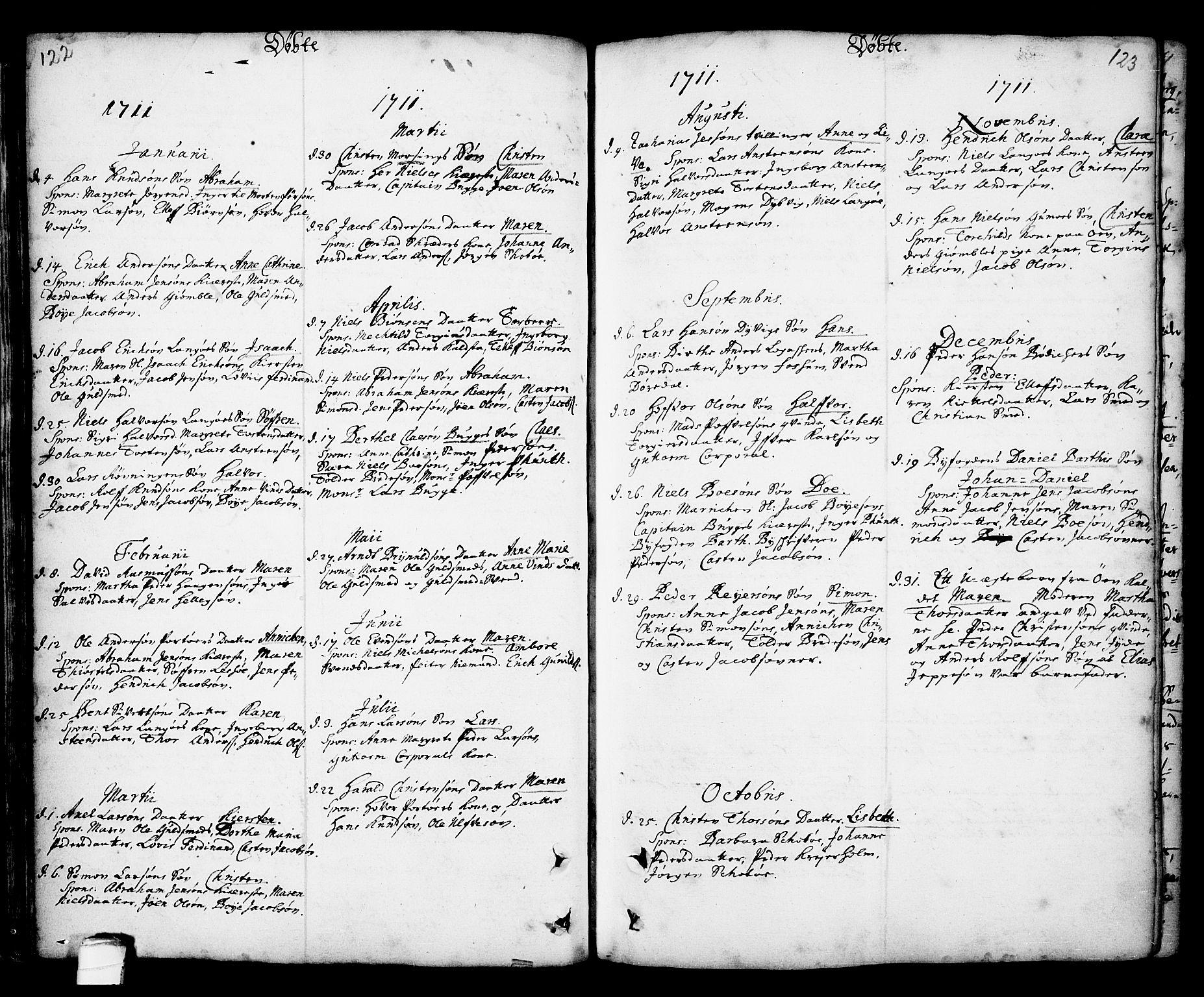 SAKO, Kragerø kirkebøker, F/Fa/L0001: Ministerialbok nr. 1, 1702-1766, s. 122-123
