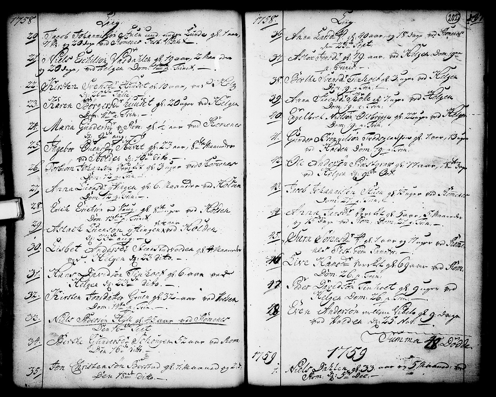 SAKO, Holla kirkebøker, F/Fa/L0001: Ministerialbok nr. 1, 1717-1779, s. 222