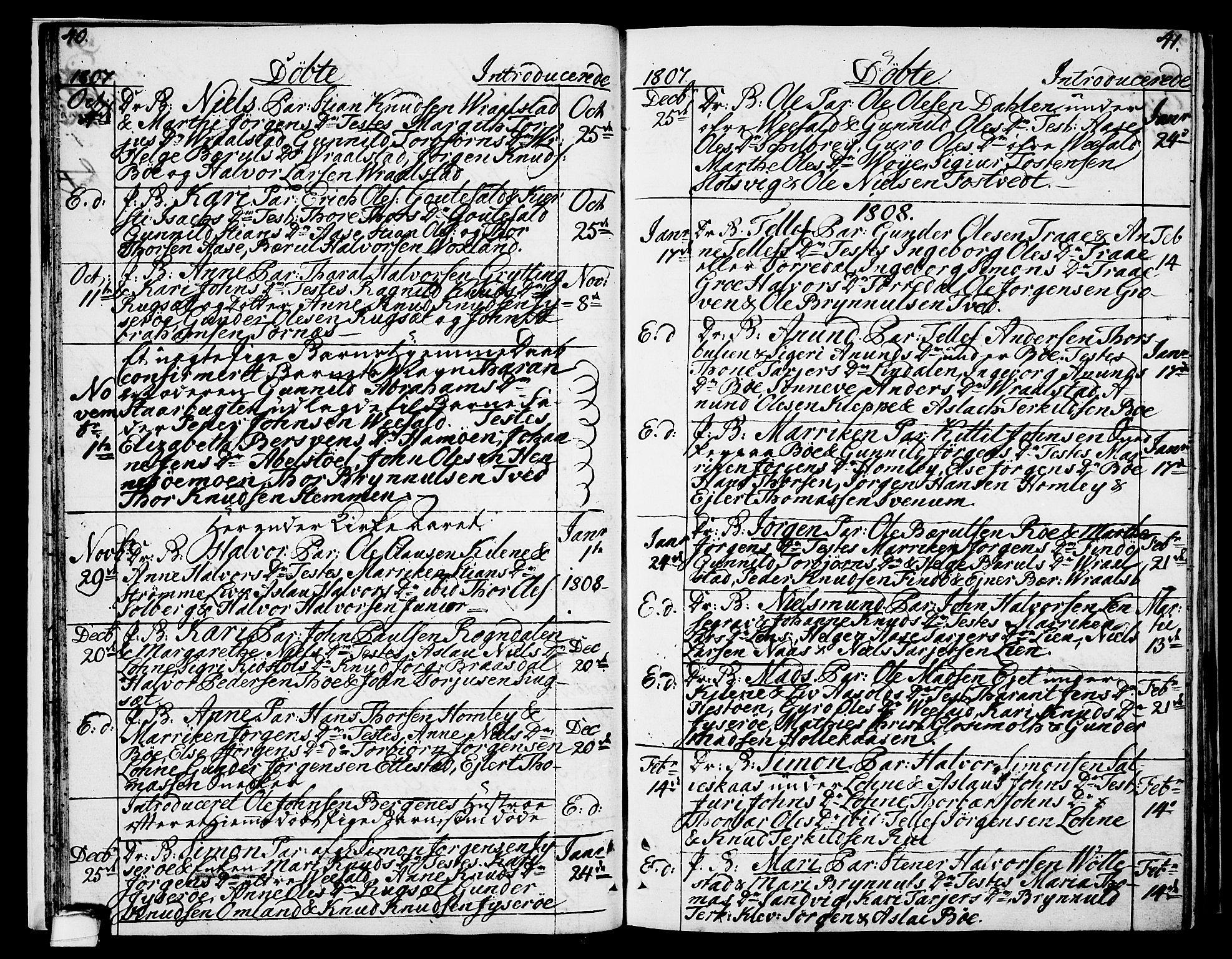 SAKO, Drangedal kirkebøker, F/Fa/L0004: Ministerialbok nr. 4, 1802-1814, s. 40-41