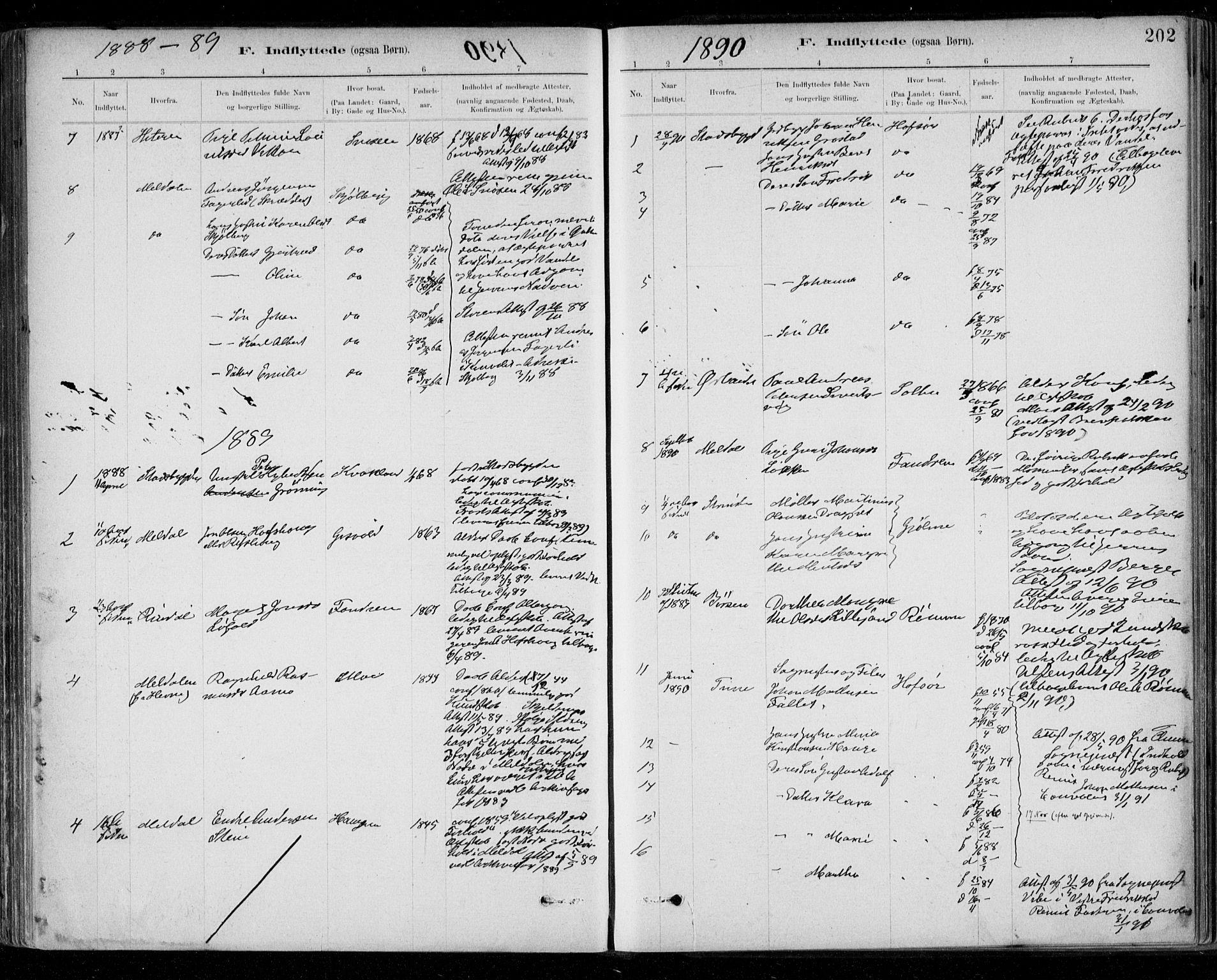 SAT, Ministerialprotokoller, klokkerbøker og fødselsregistre - Sør-Trøndelag, 668/L0810: Ministerialbok nr. 668A10, 1881-1894, s. 202