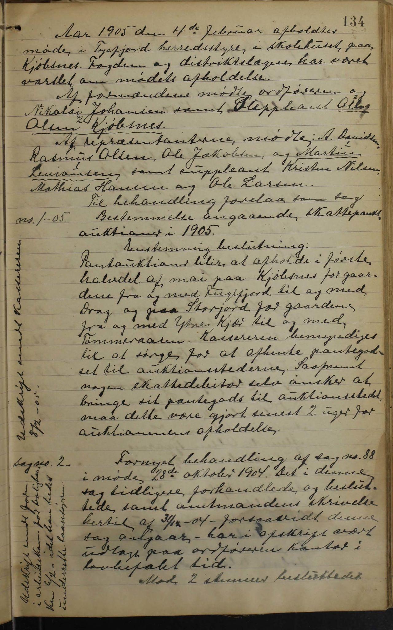 AIN, Tysfjord kommune. Formannskapet, 100/L0002: Forhandlingsprotokoll for Tysfjordens formandskap, 1895-1912, s. 134