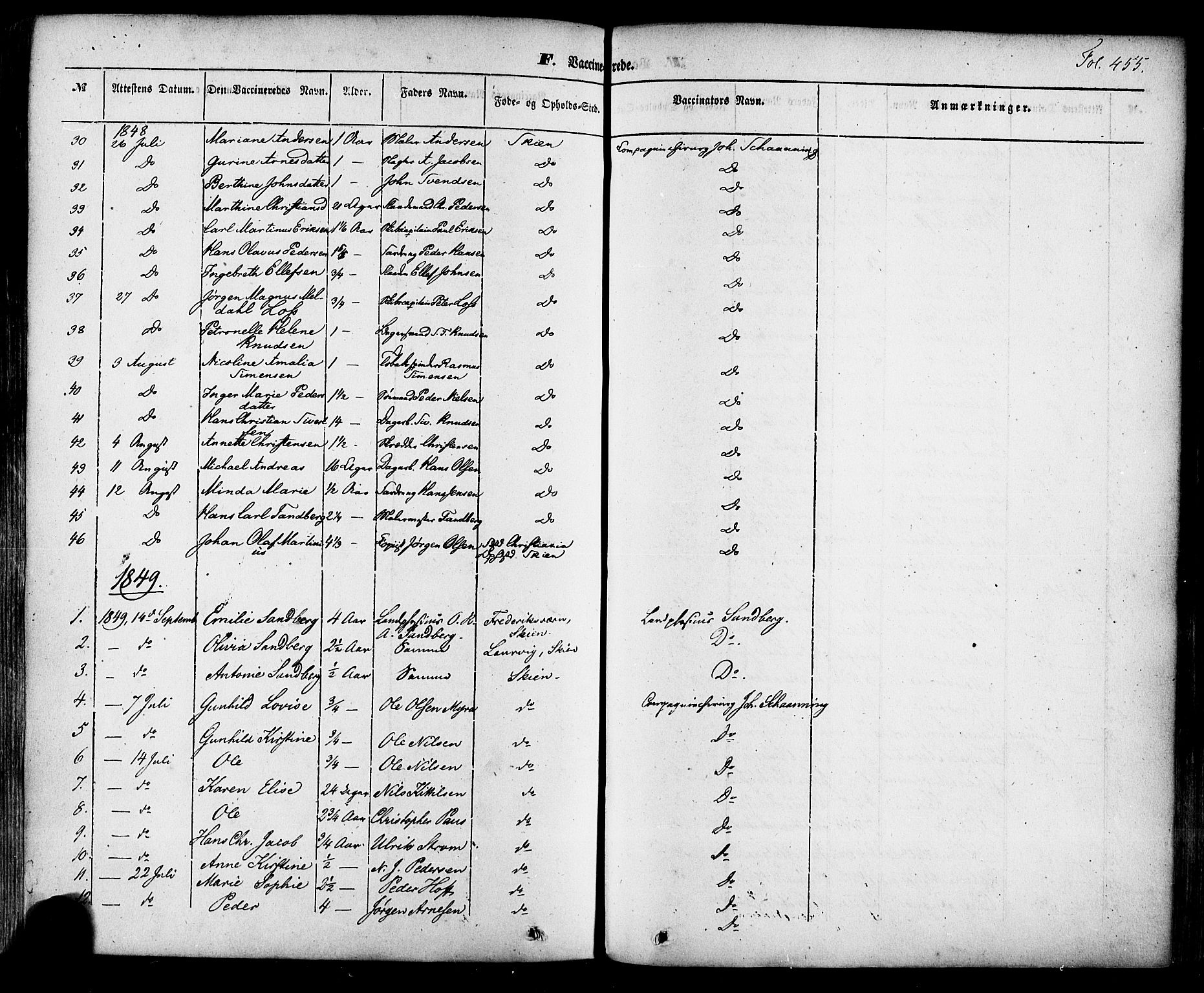 SAKO, Skien kirkebøker, F/Fa/L0006a: Ministerialbok nr. 6A, 1843-1856, s. 455