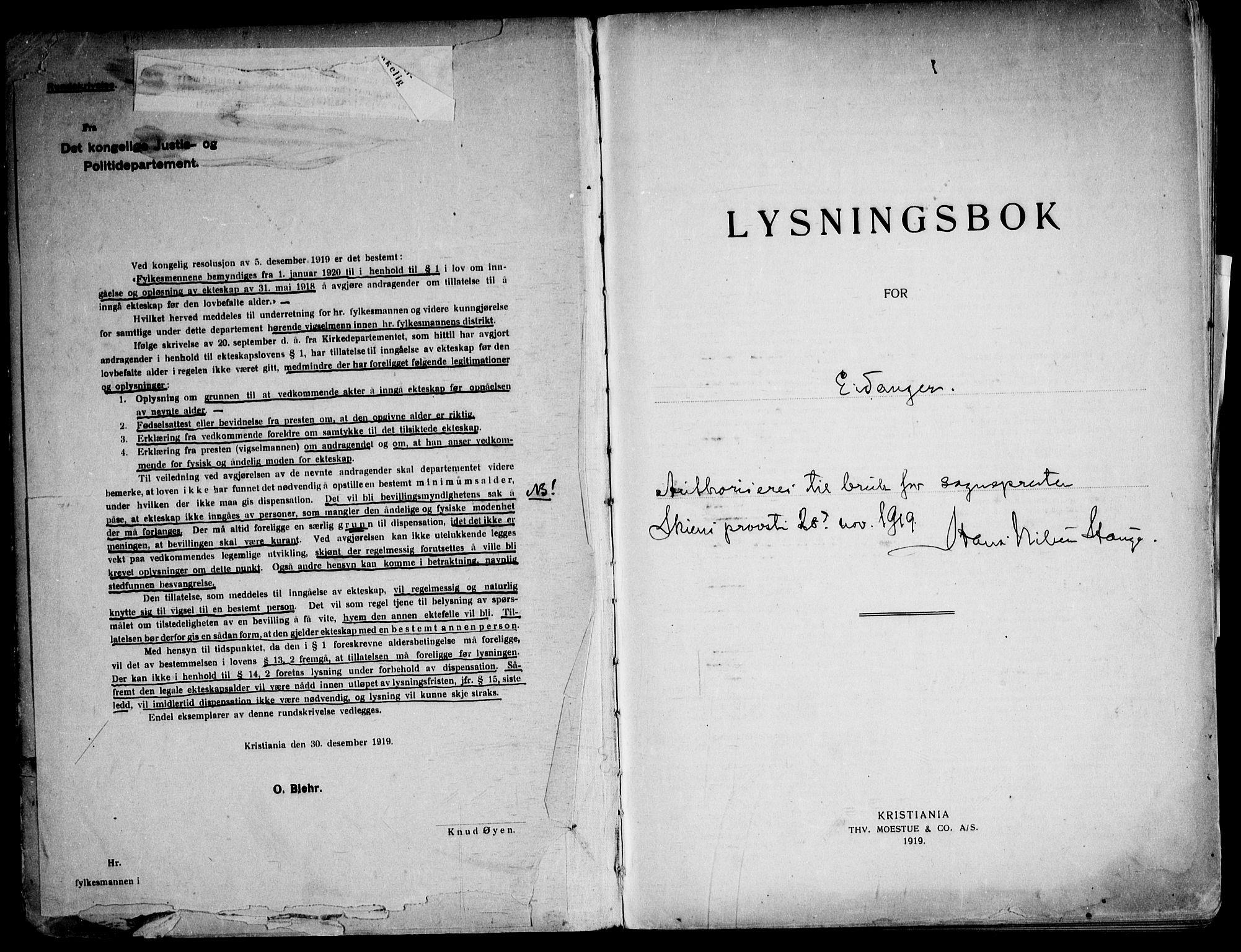 SAKO, Eidanger kirkebøker, H/Ha/L0003: Lysningsprotokoll nr. 3, 1919-1948