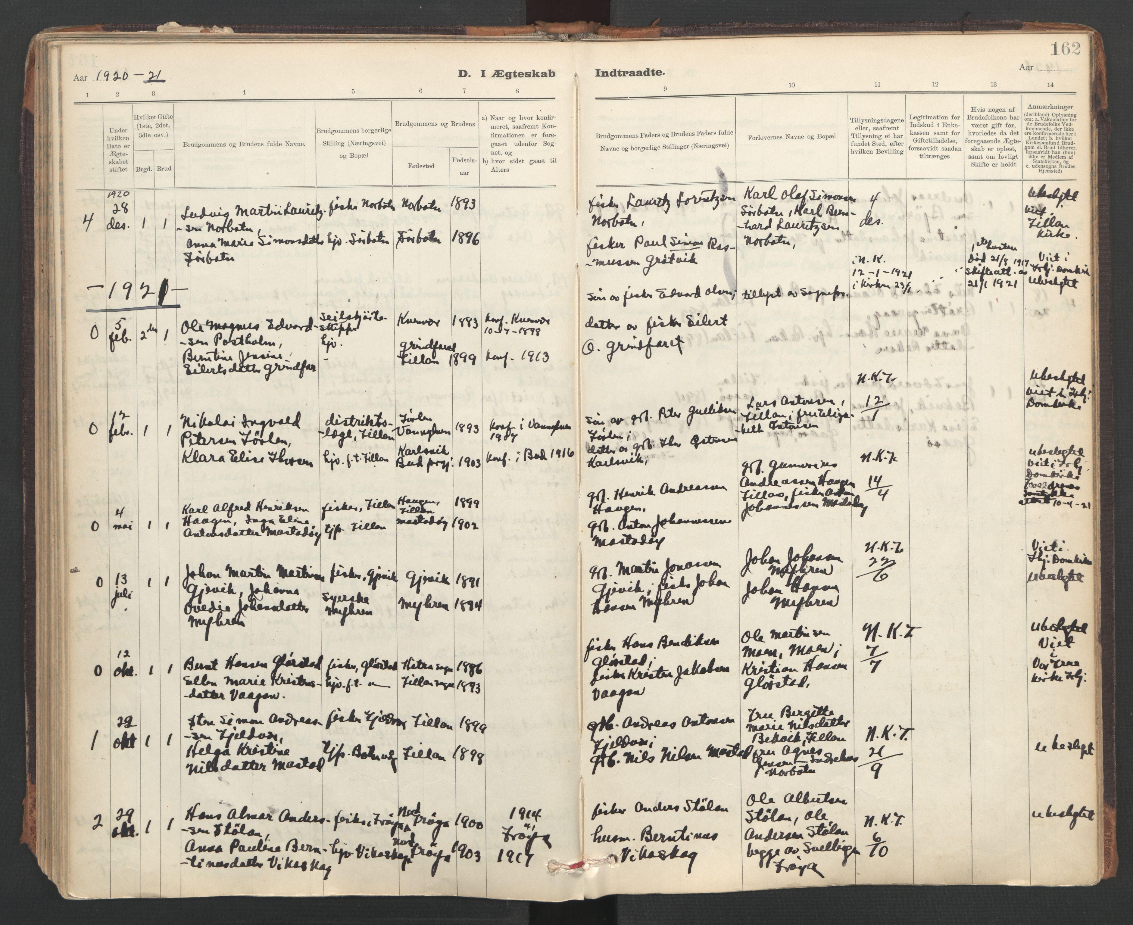 SAT, Ministerialprotokoller, klokkerbøker og fødselsregistre - Sør-Trøndelag, 637/L0559: Ministerialbok nr. 637A02, 1899-1923, s. 162