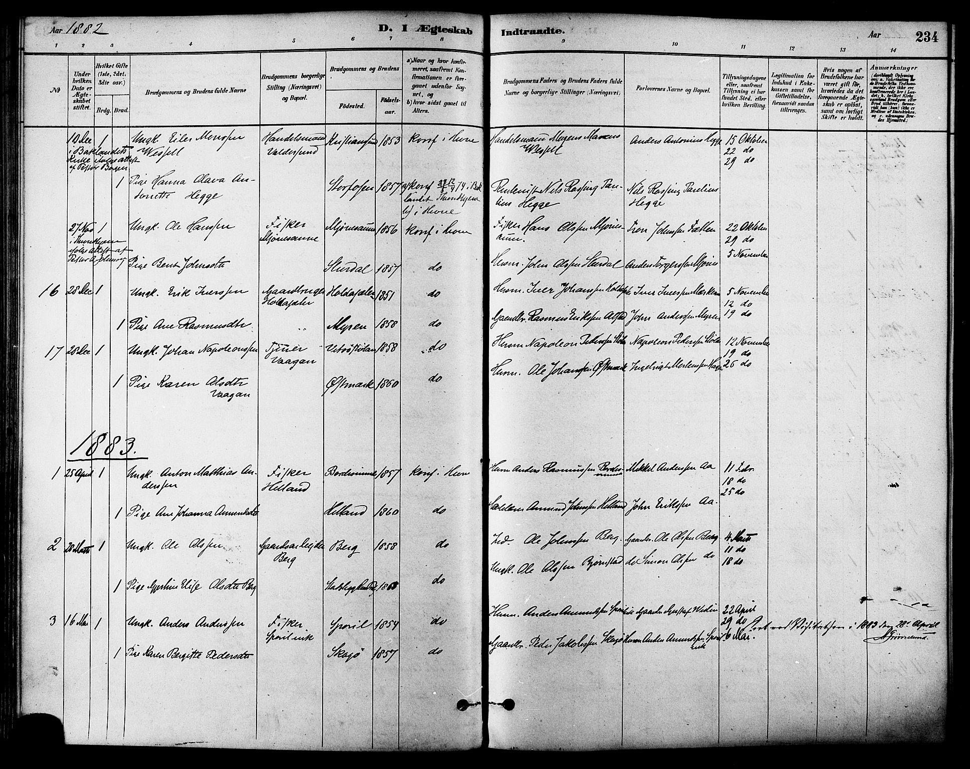 SAT, Ministerialprotokoller, klokkerbøker og fødselsregistre - Sør-Trøndelag, 630/L0496: Ministerialbok nr. 630A09, 1879-1895, s. 234