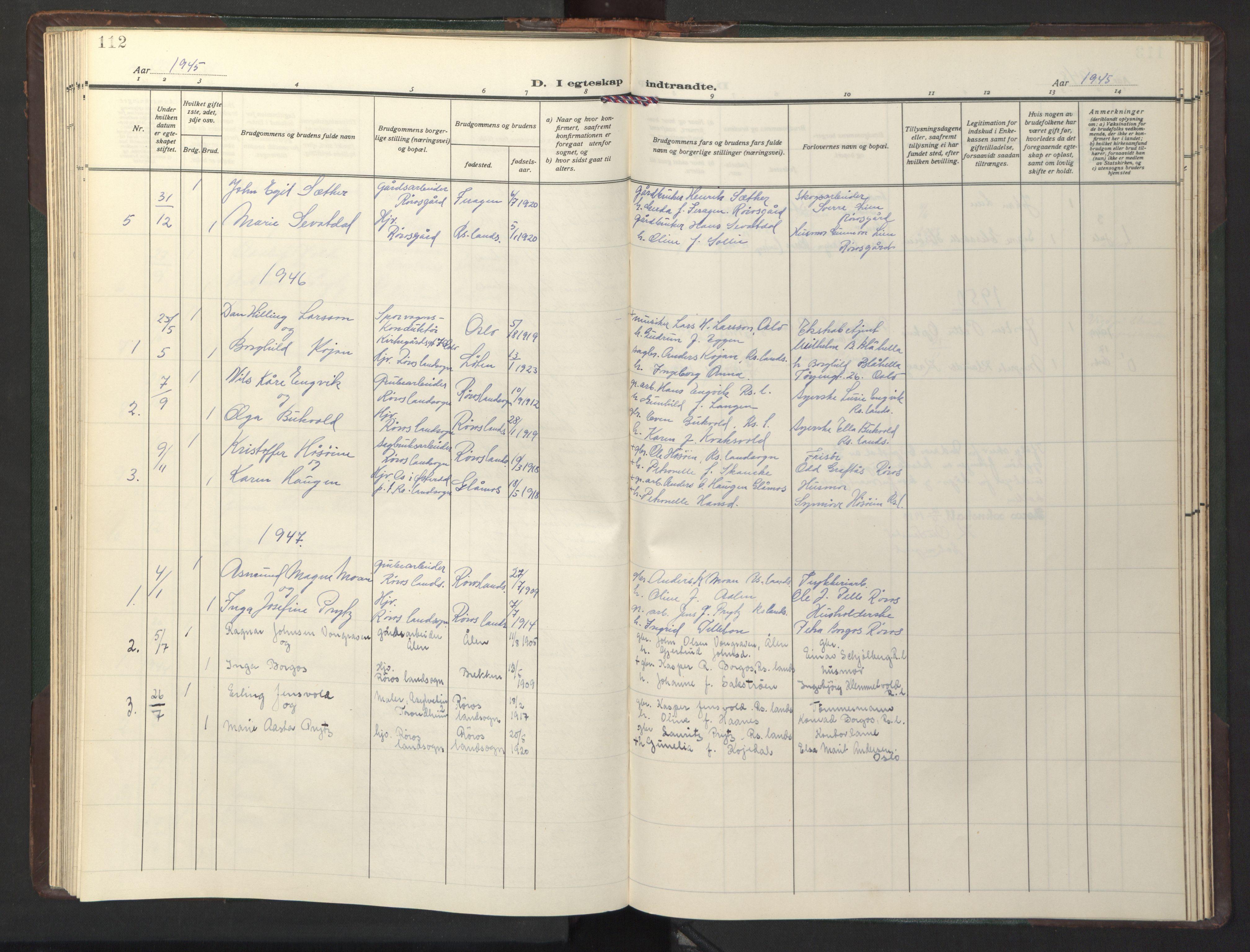 SAT, Ministerialprotokoller, klokkerbøker og fødselsregistre - Sør-Trøndelag, 681/L0944: Klokkerbok nr. 681C08, 1926-1954, s. 112