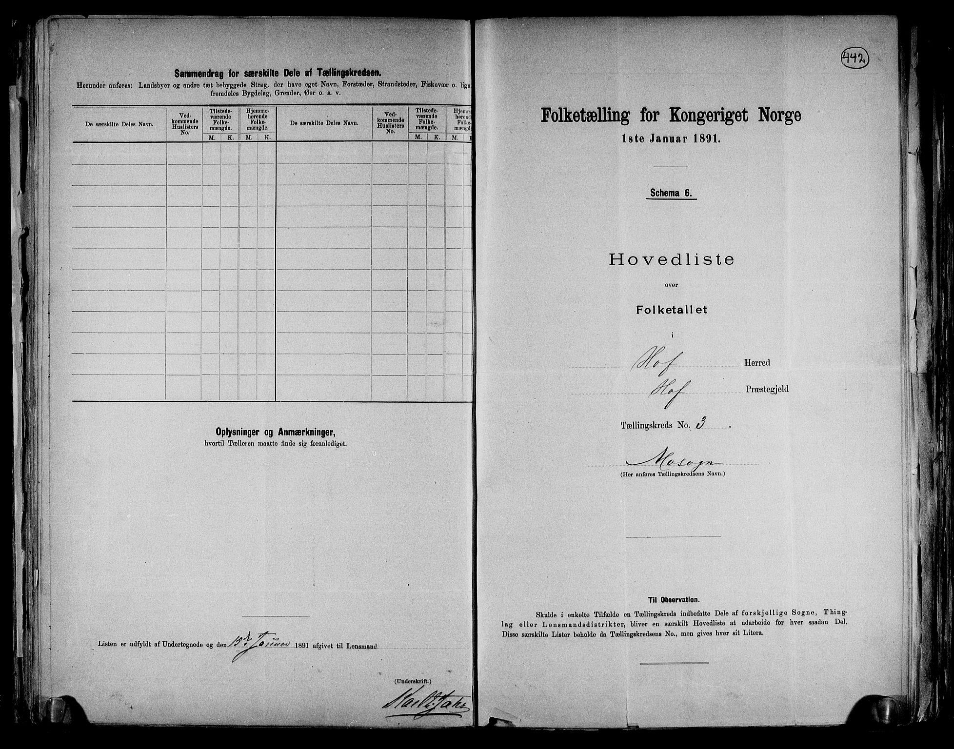 RA, Folketelling 1891 for 0424 Hof herred, 1891, s. 9