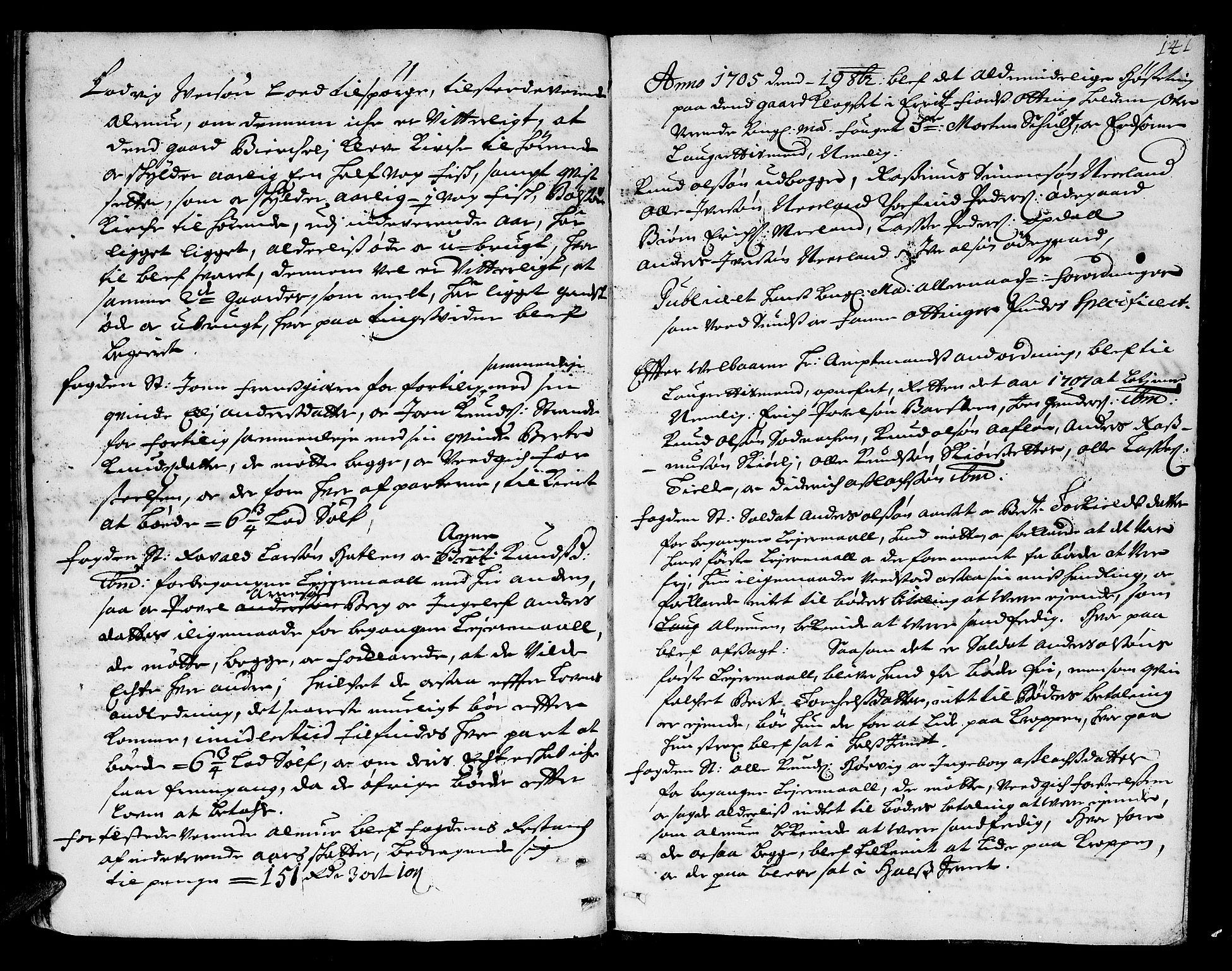 SAT, Romsdal sorenskriveri, 1/1A/L0004: Tingbok, 1700-1705, s. 140b-141a