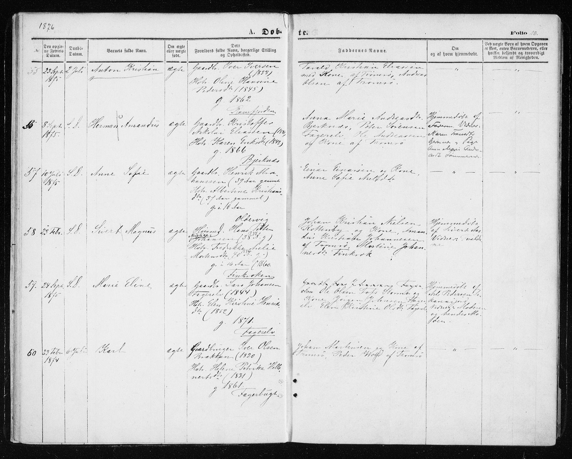 SATØ, Tromsøysund sokneprestkontor, G/Ga/L0003kirke: Ministerialbok nr. 3, 1875-1880, s. 13