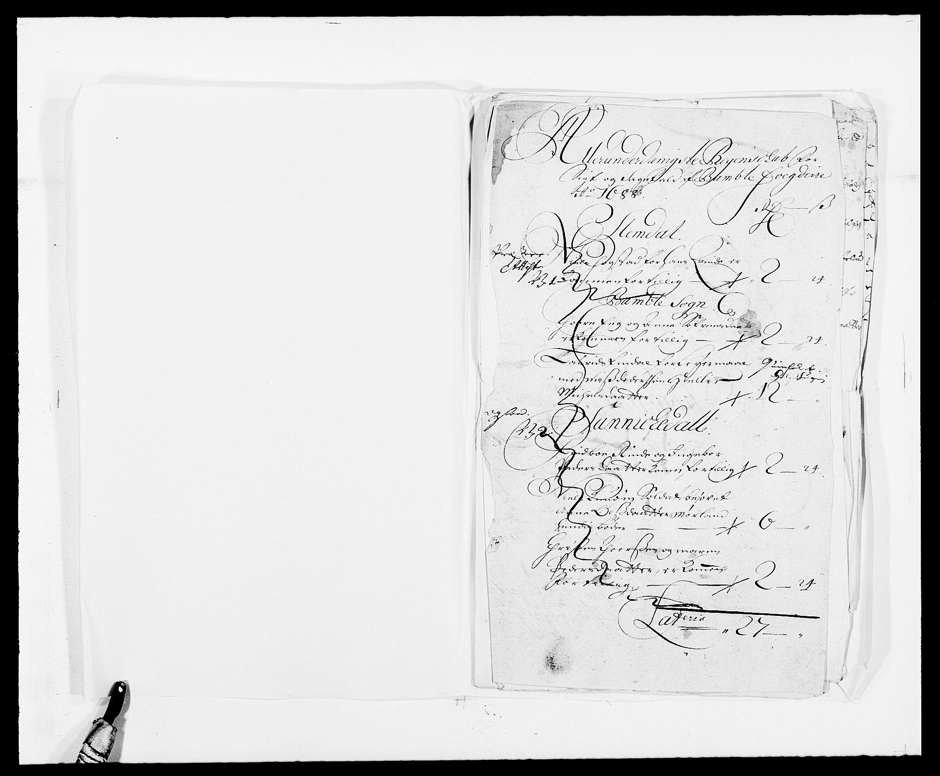 RA, Rentekammeret inntil 1814, Reviderte regnskaper, Fogderegnskap, R34/L2050: Fogderegnskap Bamble, 1688-1691, s. 64