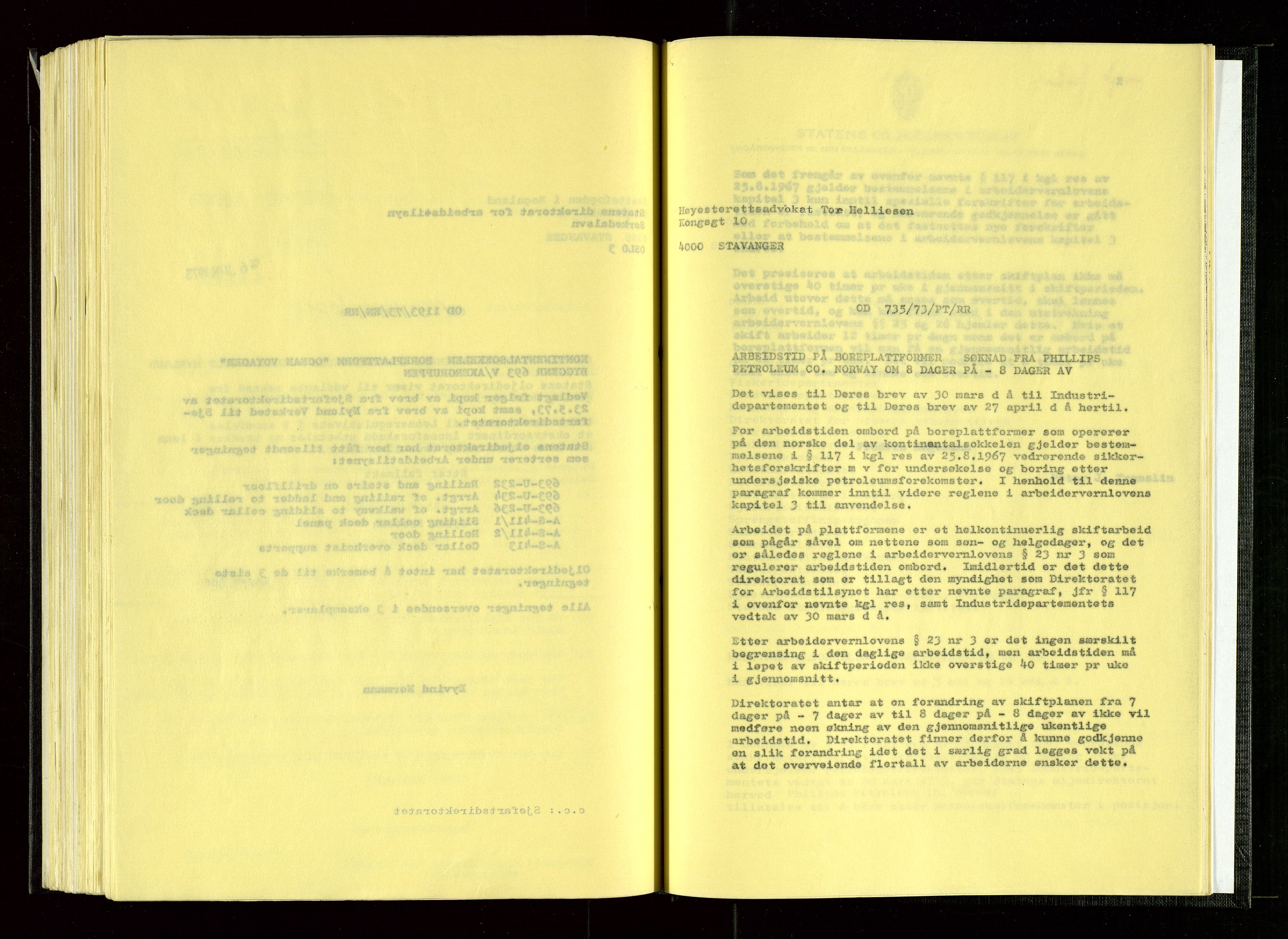 SAST, Oljedirektoratet, Ba/L0002: Kopibok, 1973