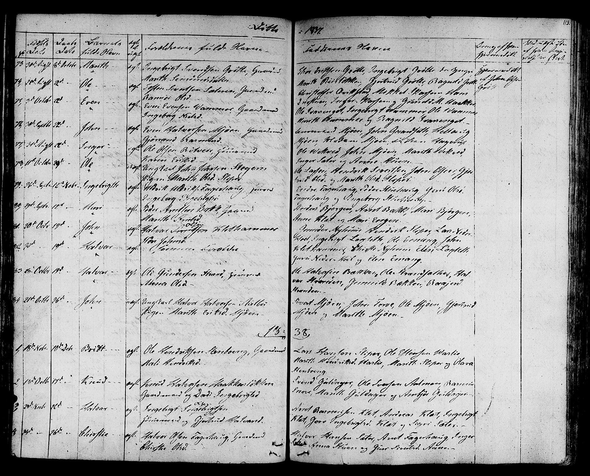 SAT, Ministerialprotokoller, klokkerbøker og fødselsregistre - Sør-Trøndelag, 678/L0897: Ministerialbok nr. 678A06-07, 1821-1847, s. 113