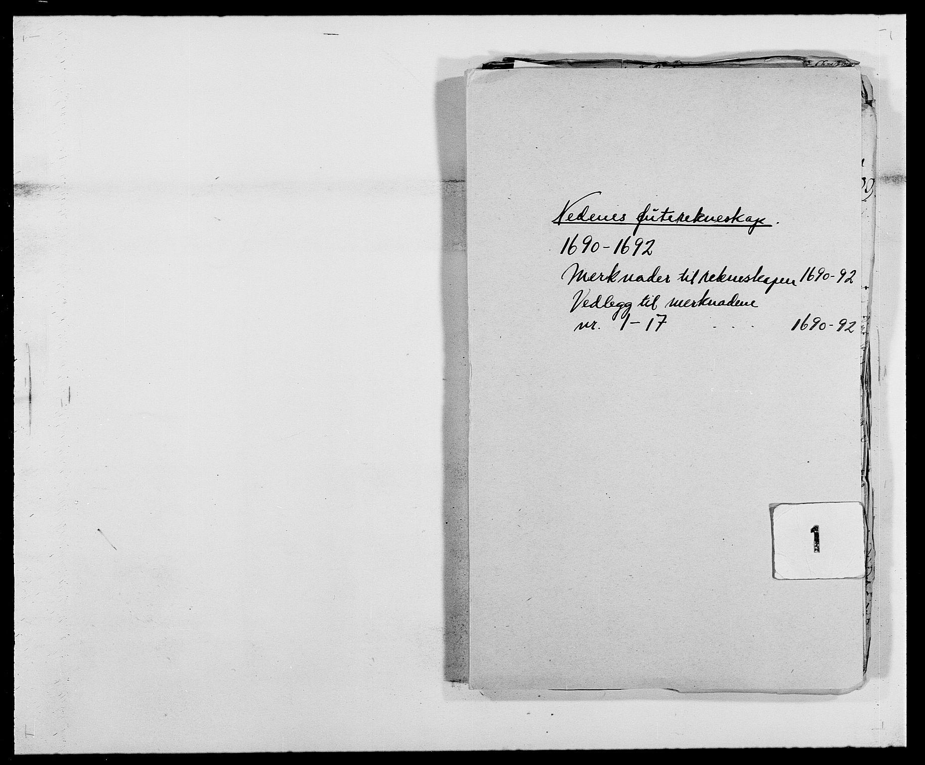 RA, Rentekammeret inntil 1814, Reviderte regnskaper, Fogderegnskap, R39/L2311: Fogderegnskap Nedenes, 1690-1692, s. 323