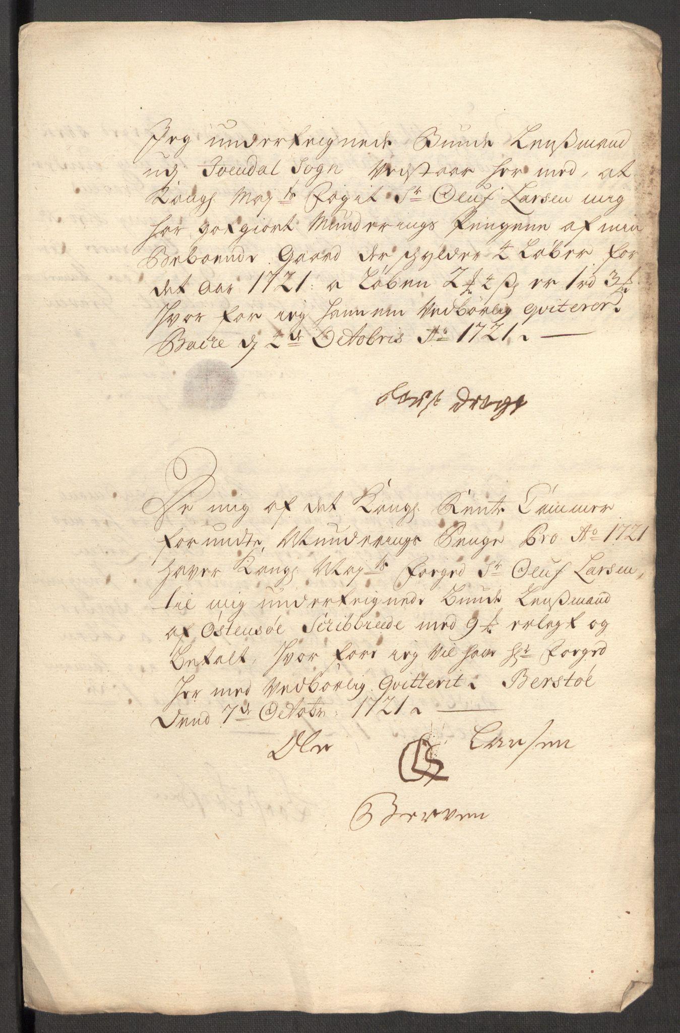 RA, Rentekammeret inntil 1814, Reviderte regnskaper, Fogderegnskap, R48/L3000: Fogderegnskap Sunnhordland og Hardanger, 1721, s. 385