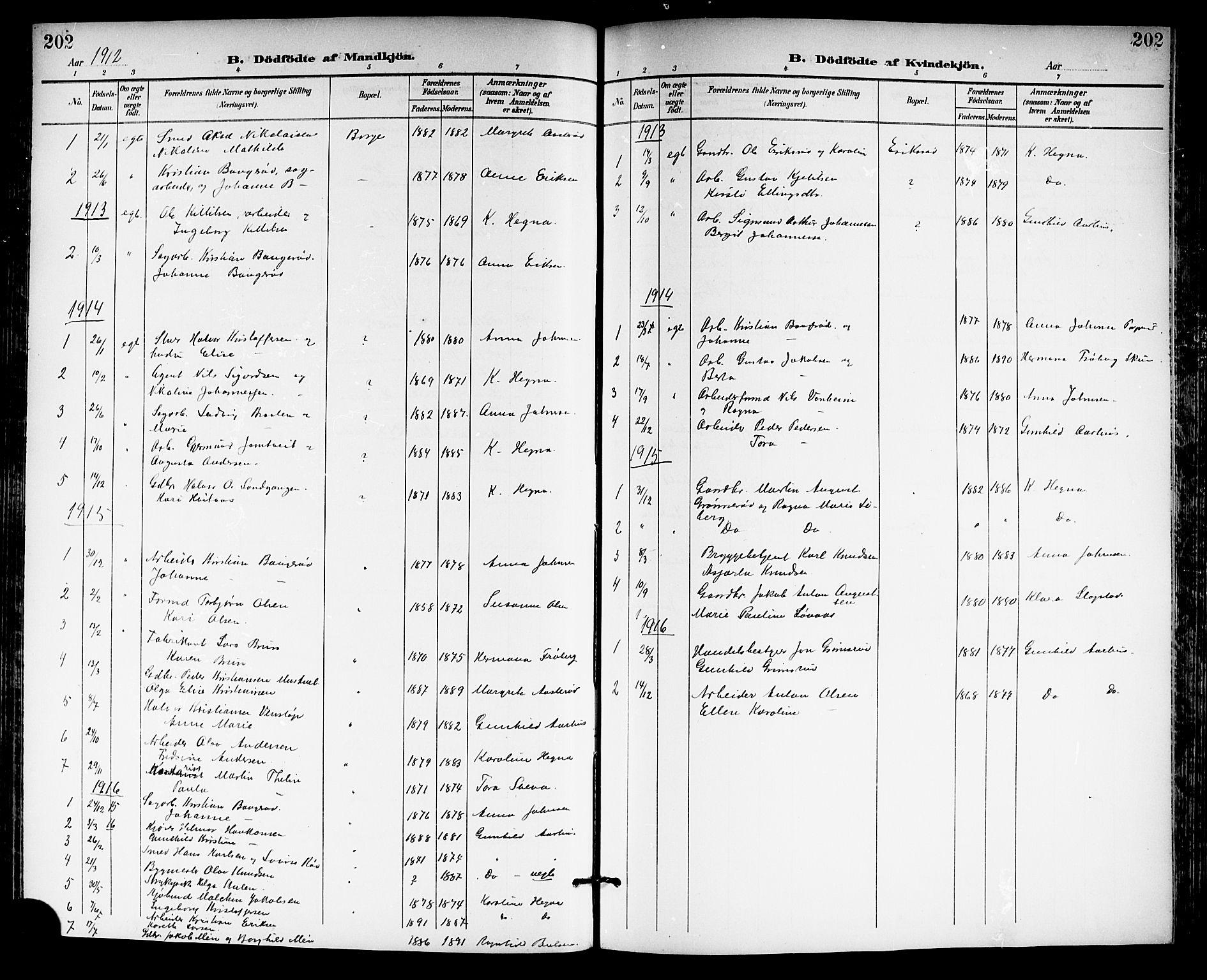 SAKO, Gjerpen kirkebøker, G/Ga/L0003: Klokkerbok nr. I 3, 1901-1919, s. 202