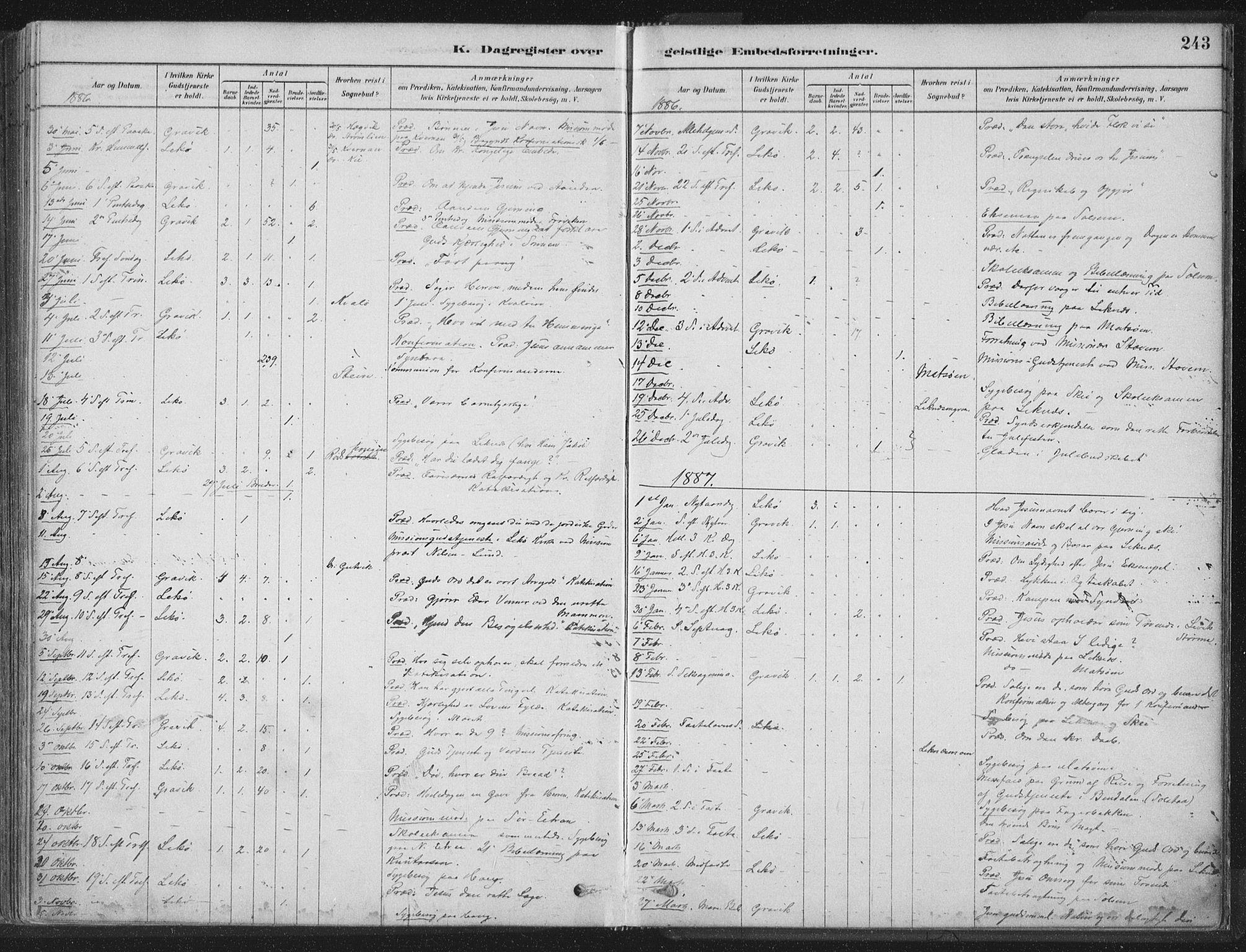 SAT, Ministerialprotokoller, klokkerbøker og fødselsregistre - Nord-Trøndelag, 788/L0697: Ministerialbok nr. 788A04, 1878-1902, s. 243