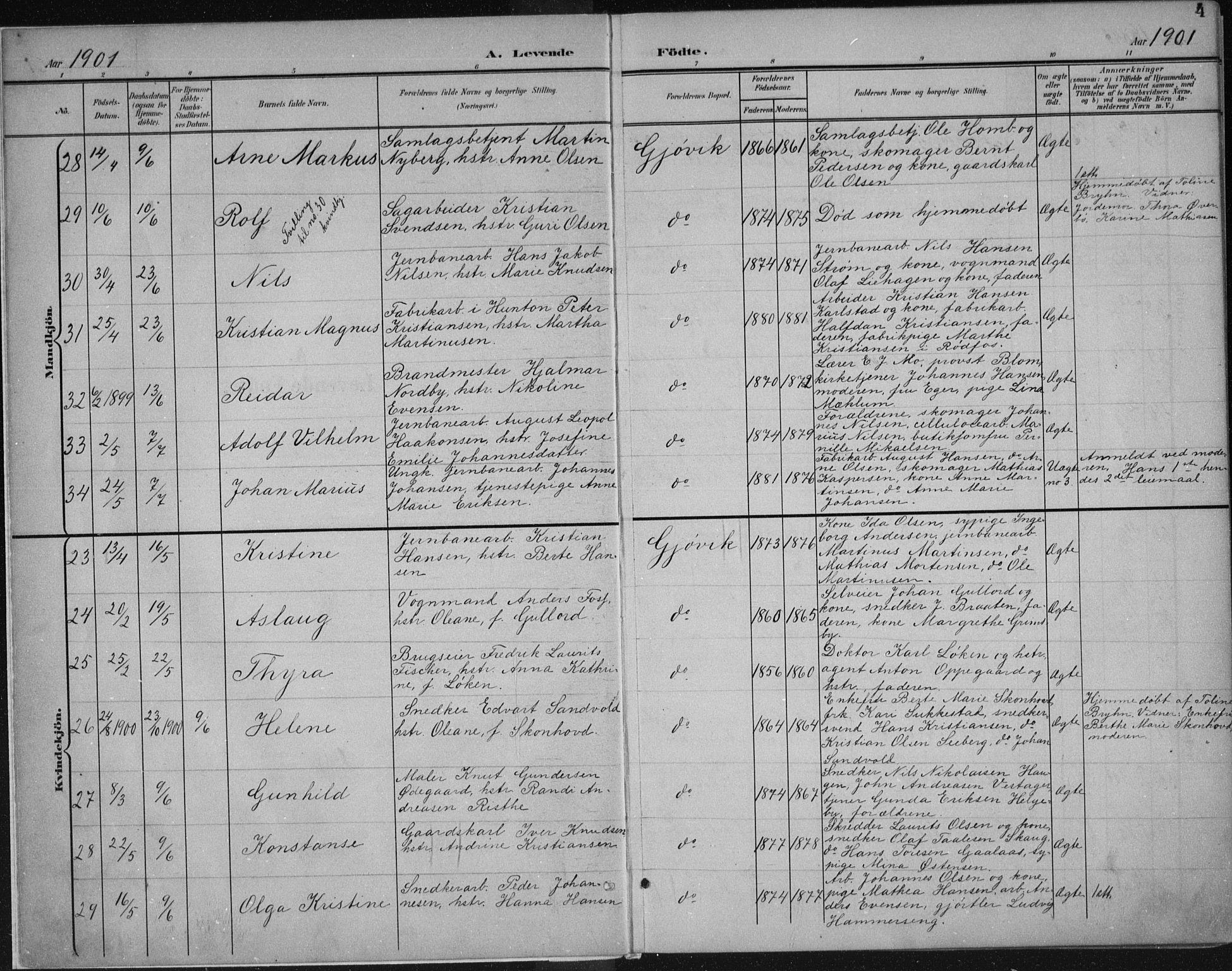 SAH, Vardal prestekontor, H/Ha/Haa/L0013: Ministerialbok nr. 13, 1901-1911, s. 4