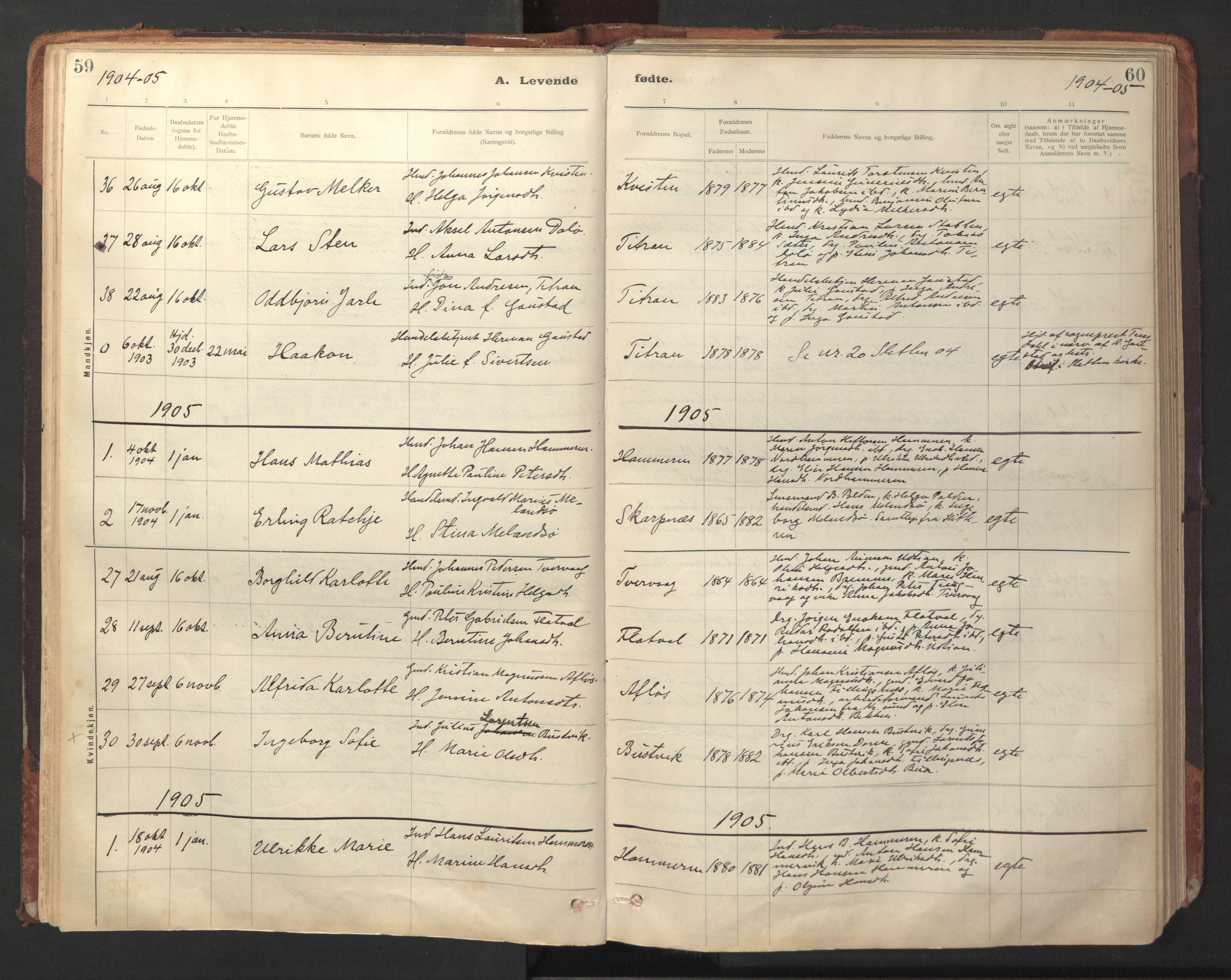 SAT, Ministerialprotokoller, klokkerbøker og fødselsregistre - Sør-Trøndelag, 641/L0596: Ministerialbok nr. 641A02, 1898-1915, s. 59-60