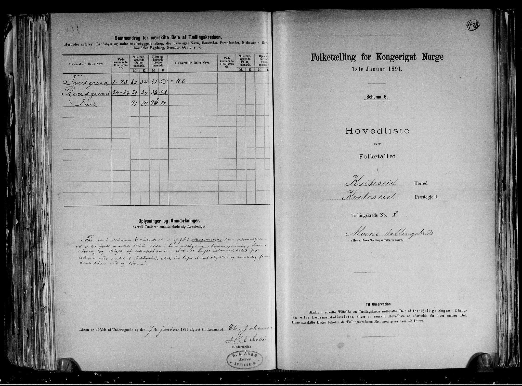 RA, Folketelling 1891 for 0829 Kviteseid herred, 1891, s. 19