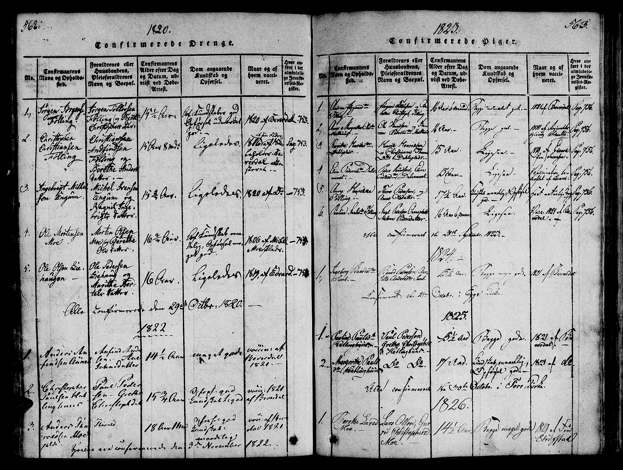 SAT, Ministerialprotokoller, klokkerbøker og fødselsregistre - Nord-Trøndelag, 746/L0441: Ministerialbok nr. 746A03 /4, 1816-1827, s. 562-563