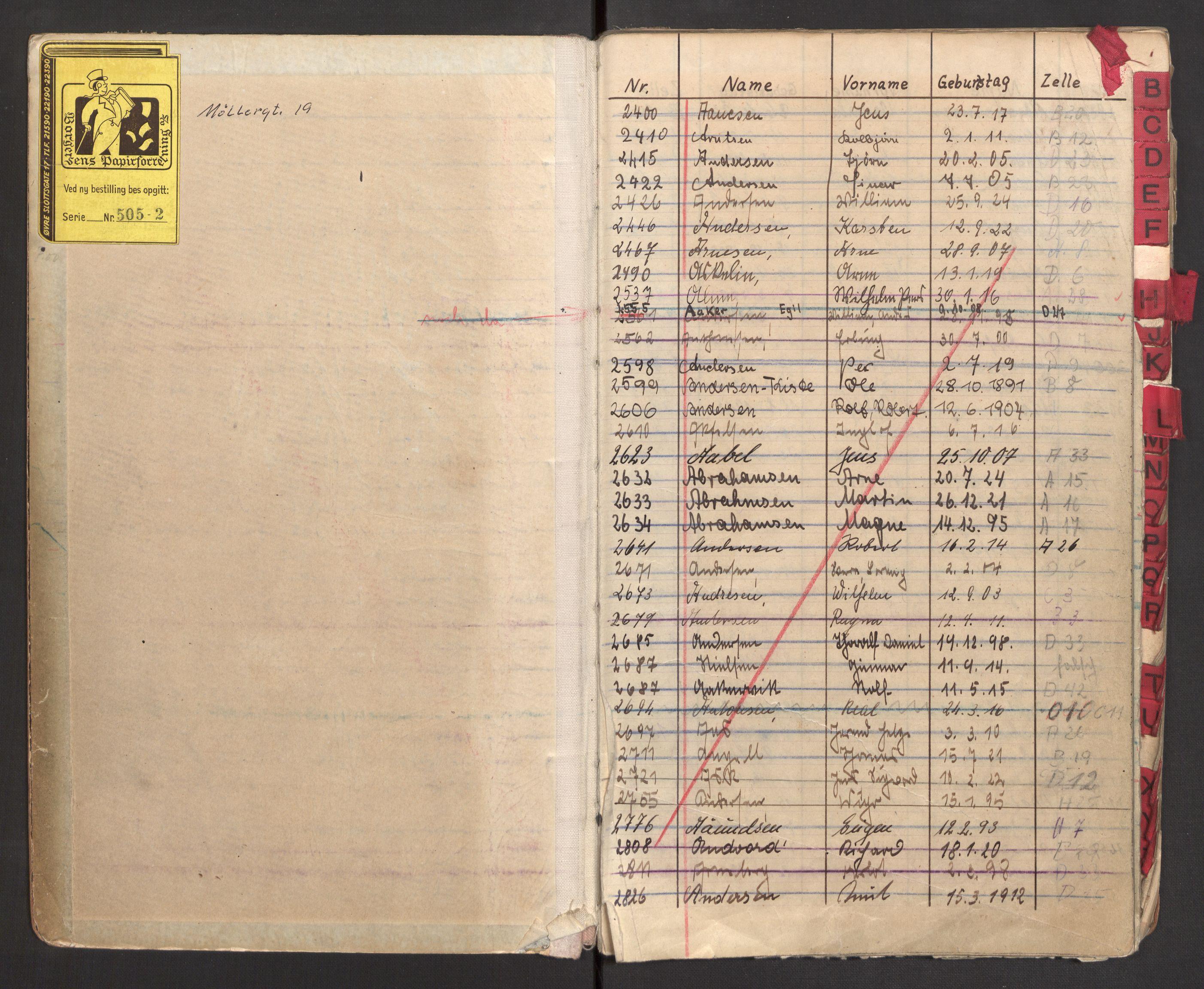 RA, Befehlshaber der Sicherheitspolizei und des SD, E/Ea/Eac/L0003: Fangeprotokoll ordnet alfabetisk , 1942