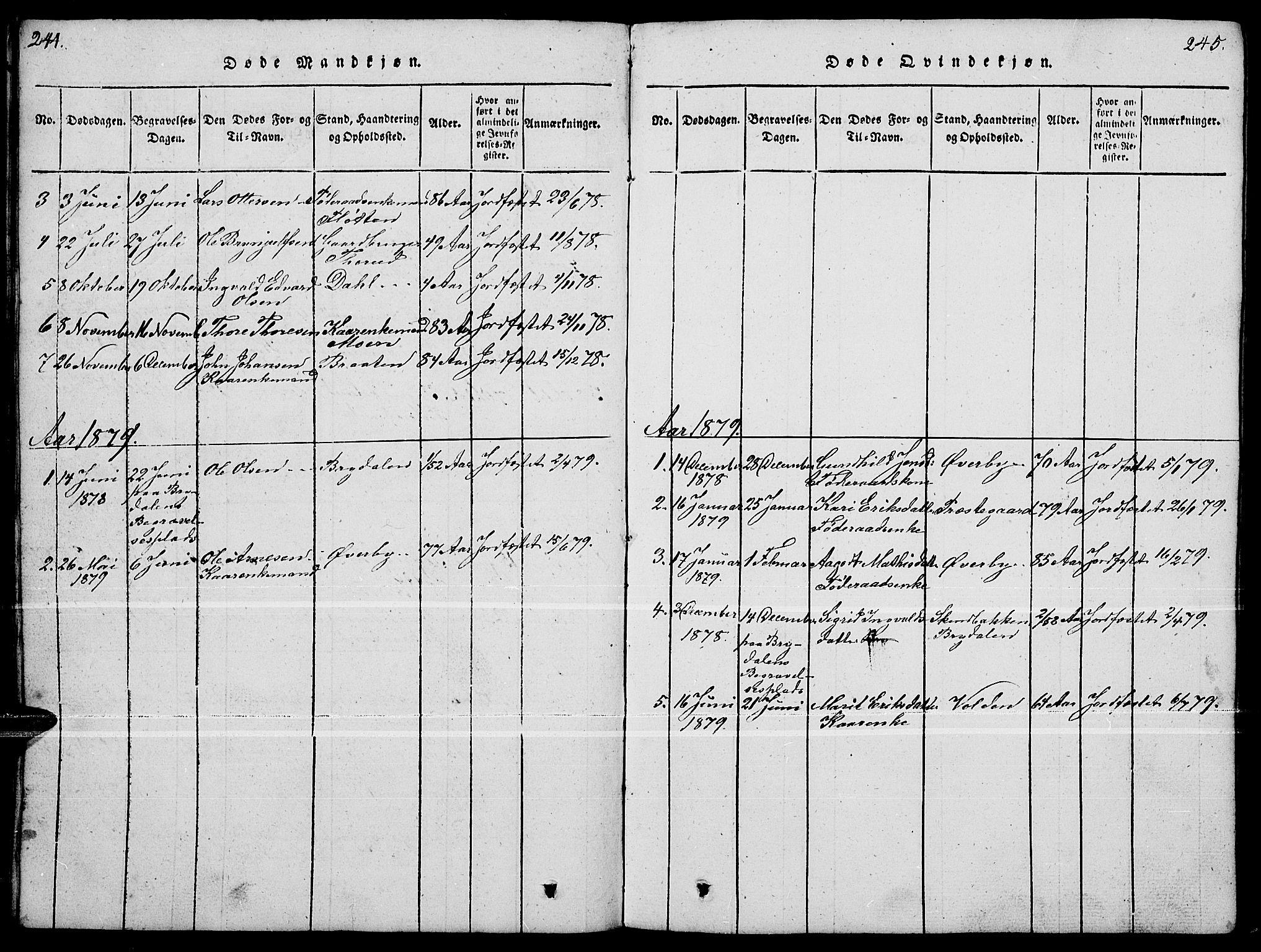 SAH, Tynset prestekontor, Klokkerbok nr. 4, 1814-1879, s. 244-245